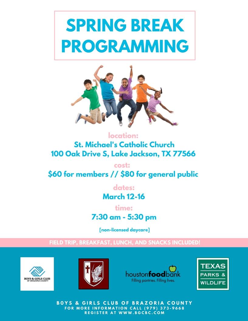 Spring Break Programming Pertaining To Boys And Girls Club Spring Break