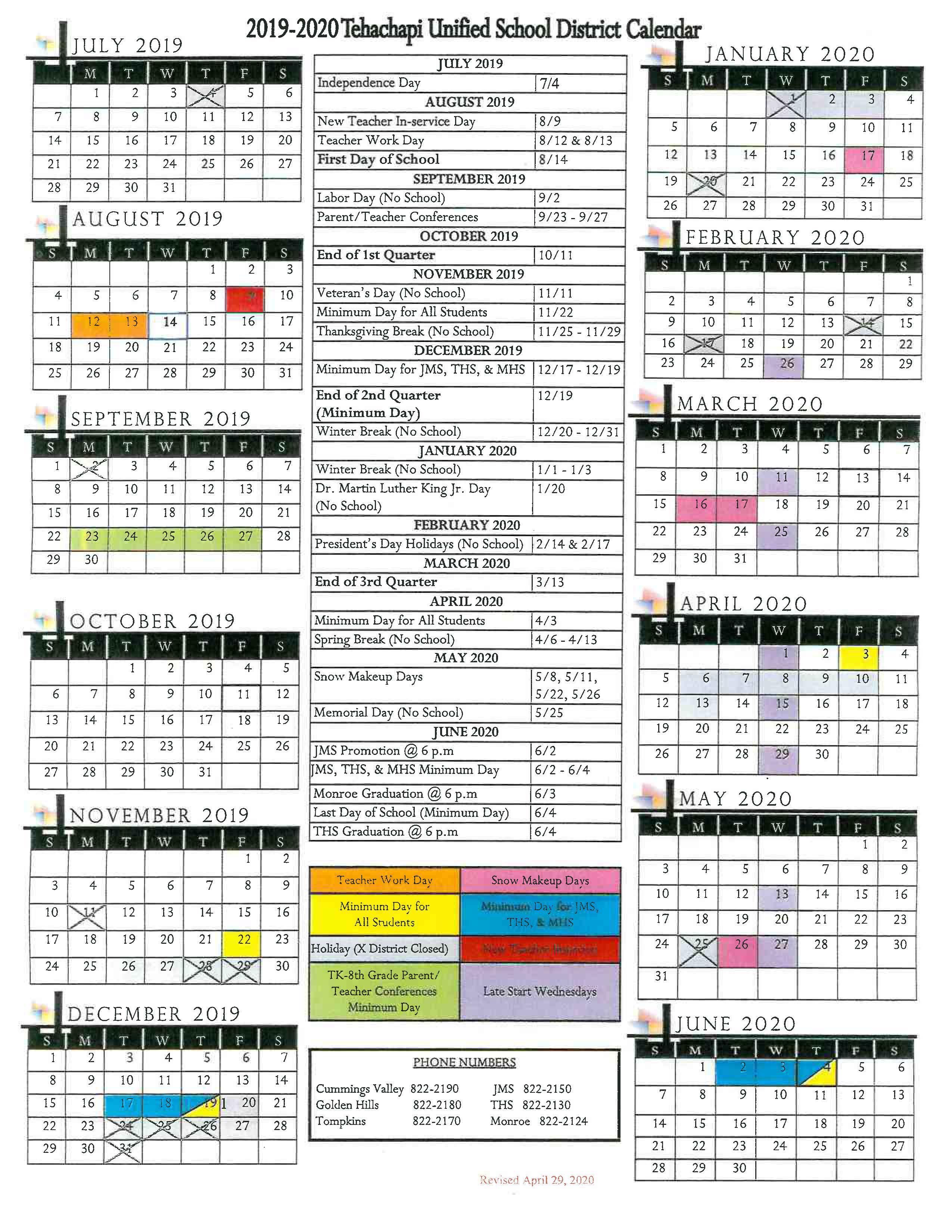 Student Attendance Calendar / Home Within Corona Unified School District Calendar