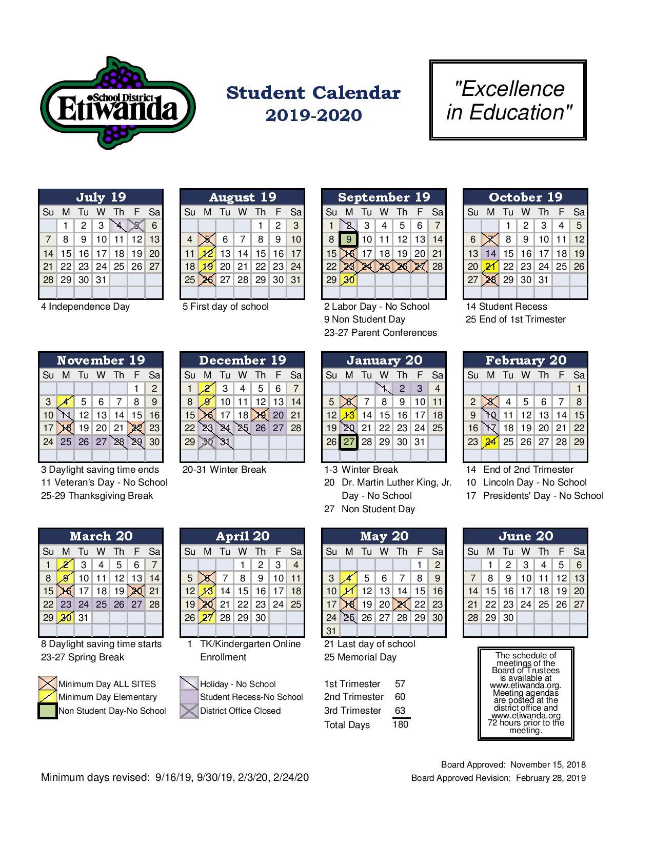 Student Calendar - Etiwanda Intermediate Pertaining To Victorville School District Calendar