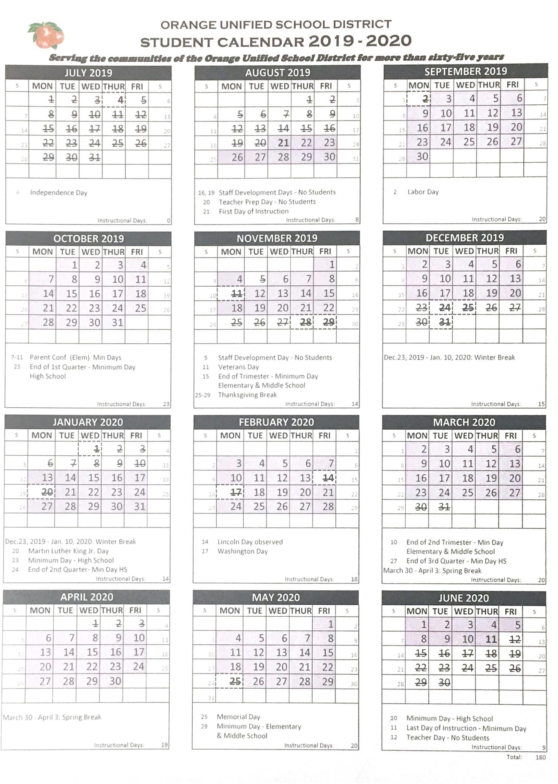 Student Calendar – Orange Unified School District For Temecula School District Calendar