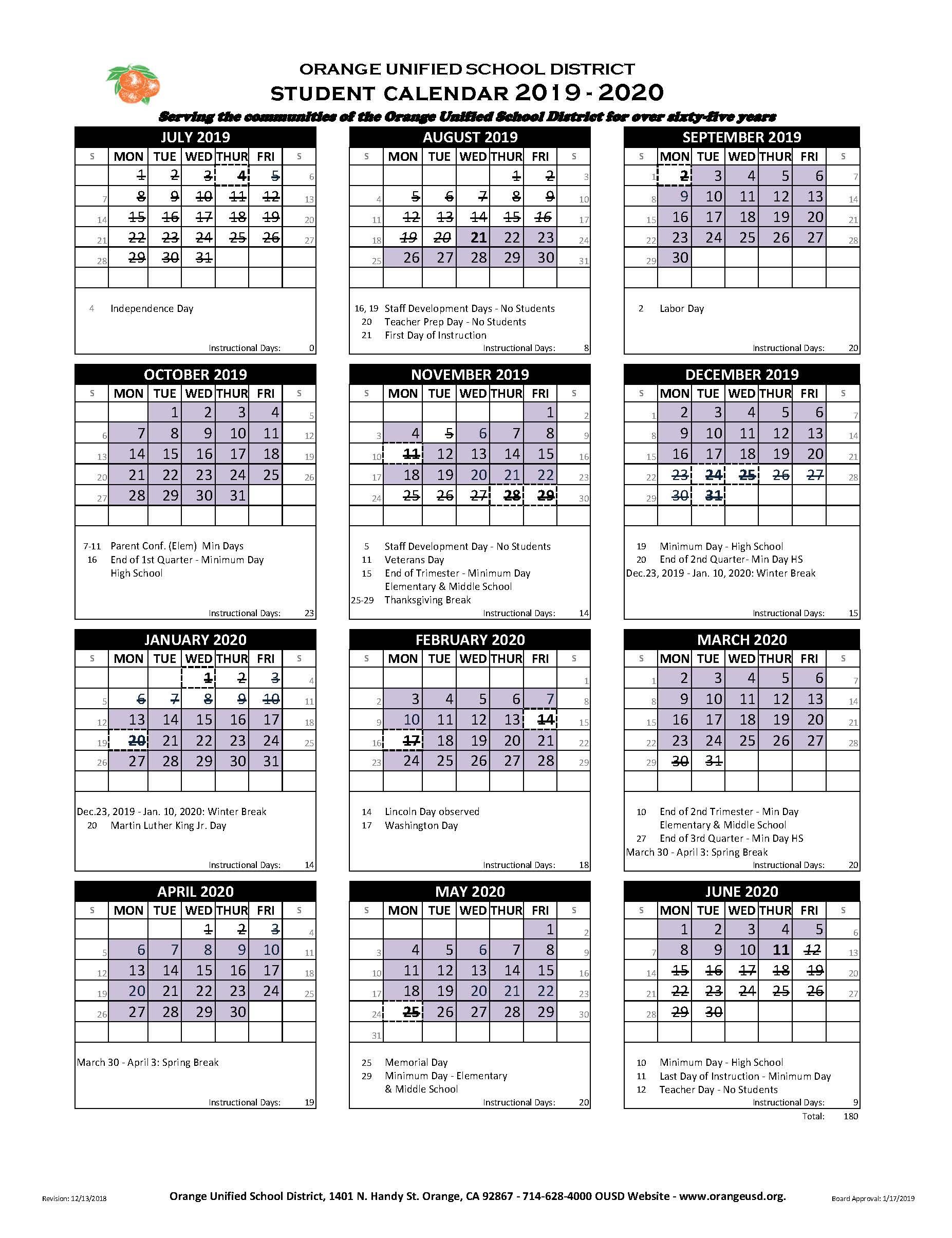 Student Calendar – Villa Park High School With Regard To University Of Redlands Academic Calendar 2020