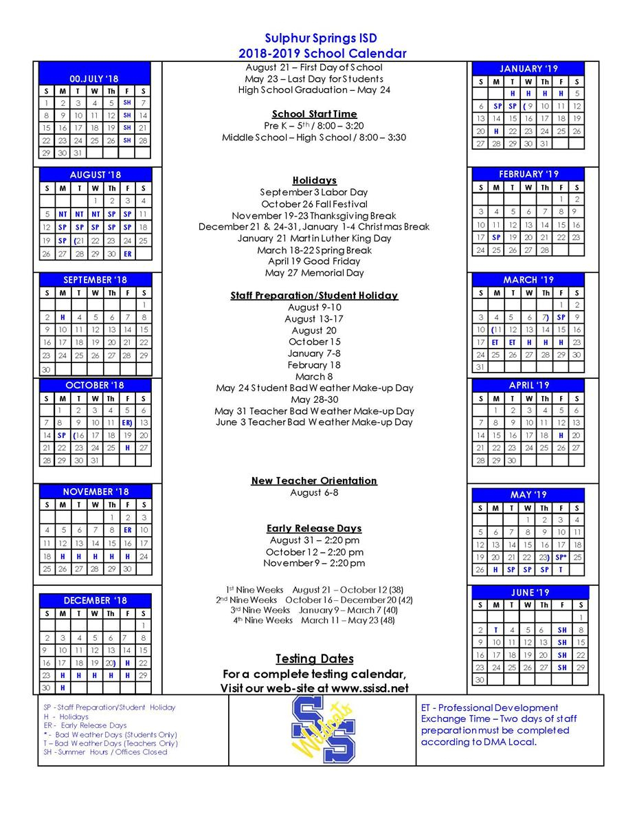 Sulphur Springs Independent School District - Induced Inside Sulphur Springs Tx School District Calendar