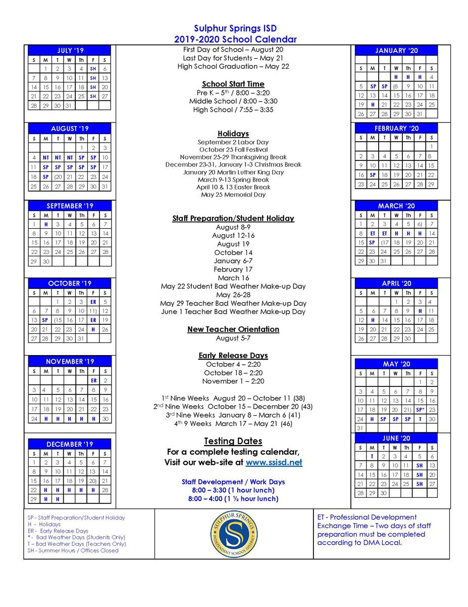 Sulphur Springs Independent School District Regarding Blue Springs School District Calendar