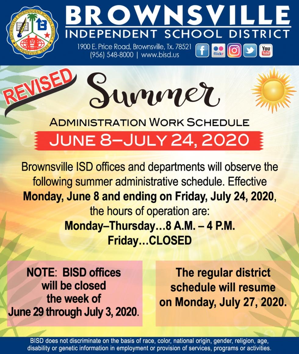 Summer Administration Work Schedule, Brownsville Independent Inside Brownsville Texas Bisd Calendar 2021 2020