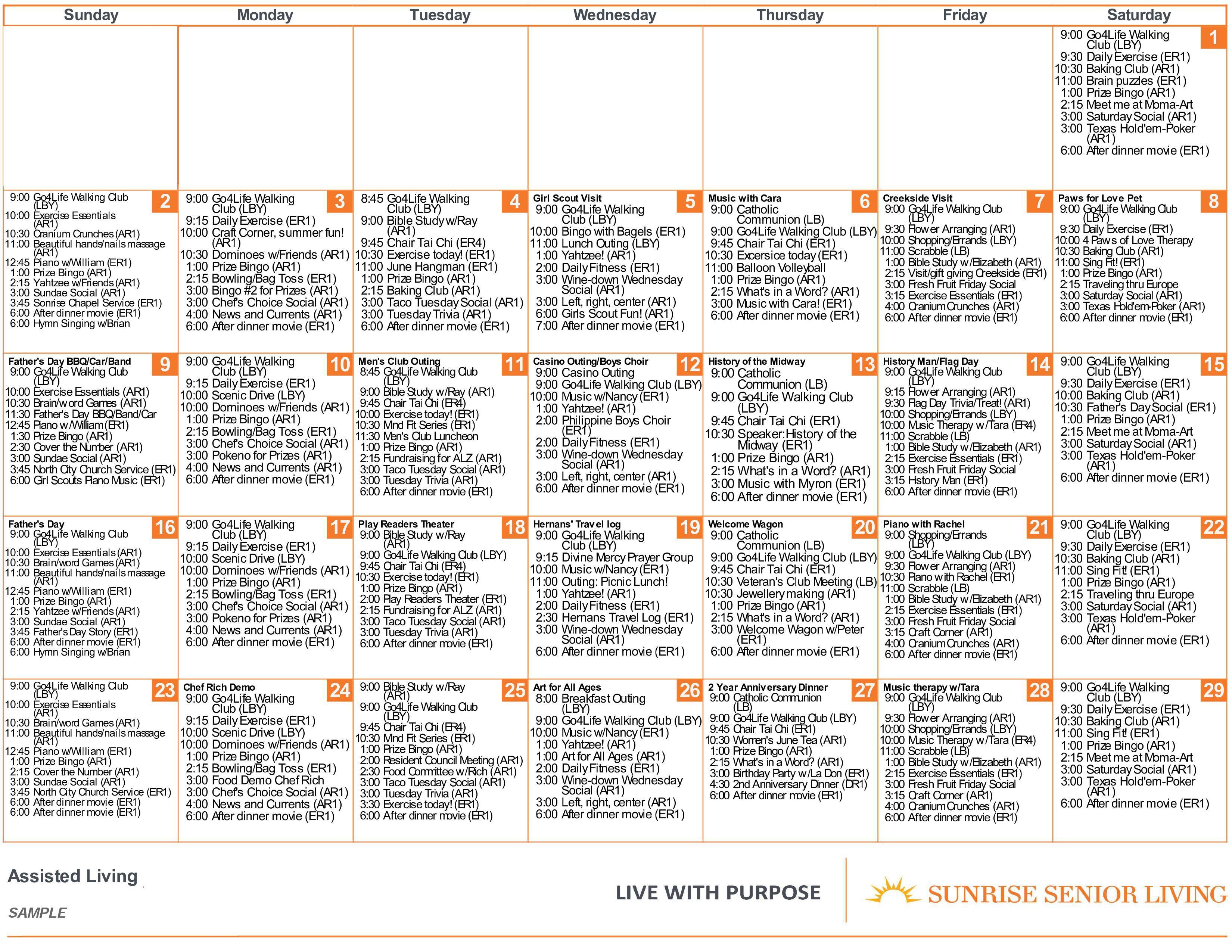 Sunrise Programs & Activities | Sunrise Senior Living Inside Assisted Living Activity Calendar Format
