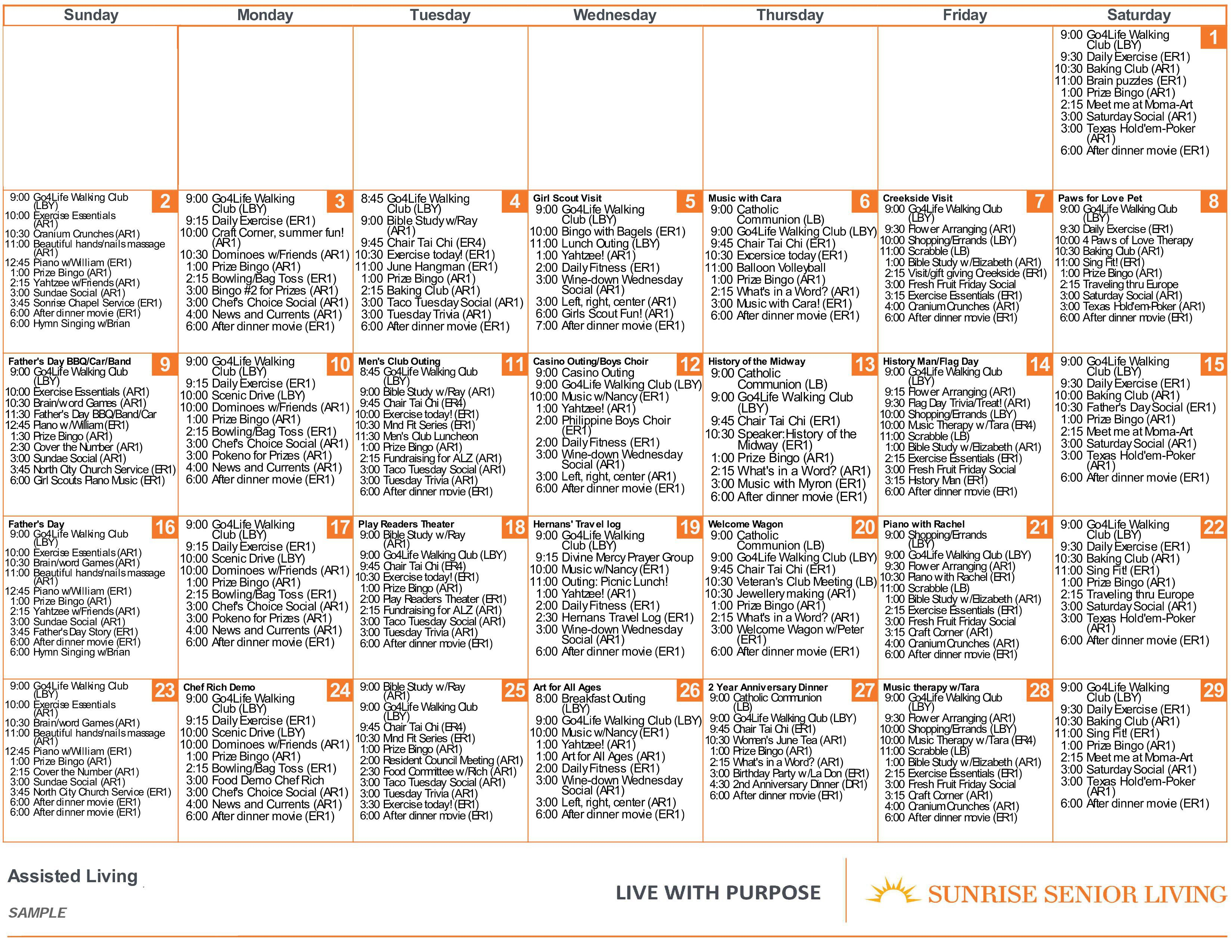 Sunrise Programs & Activities | Sunrise Senior Living Pertaining To Asiisted Living Home Monthly Cactivity Calendar