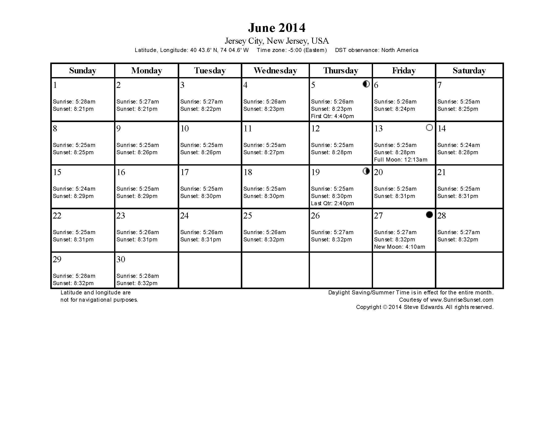 Sunrise / Sunset Calendar For Jersey City - June 2014 (With With Sunrise Sunset Calendar Printable