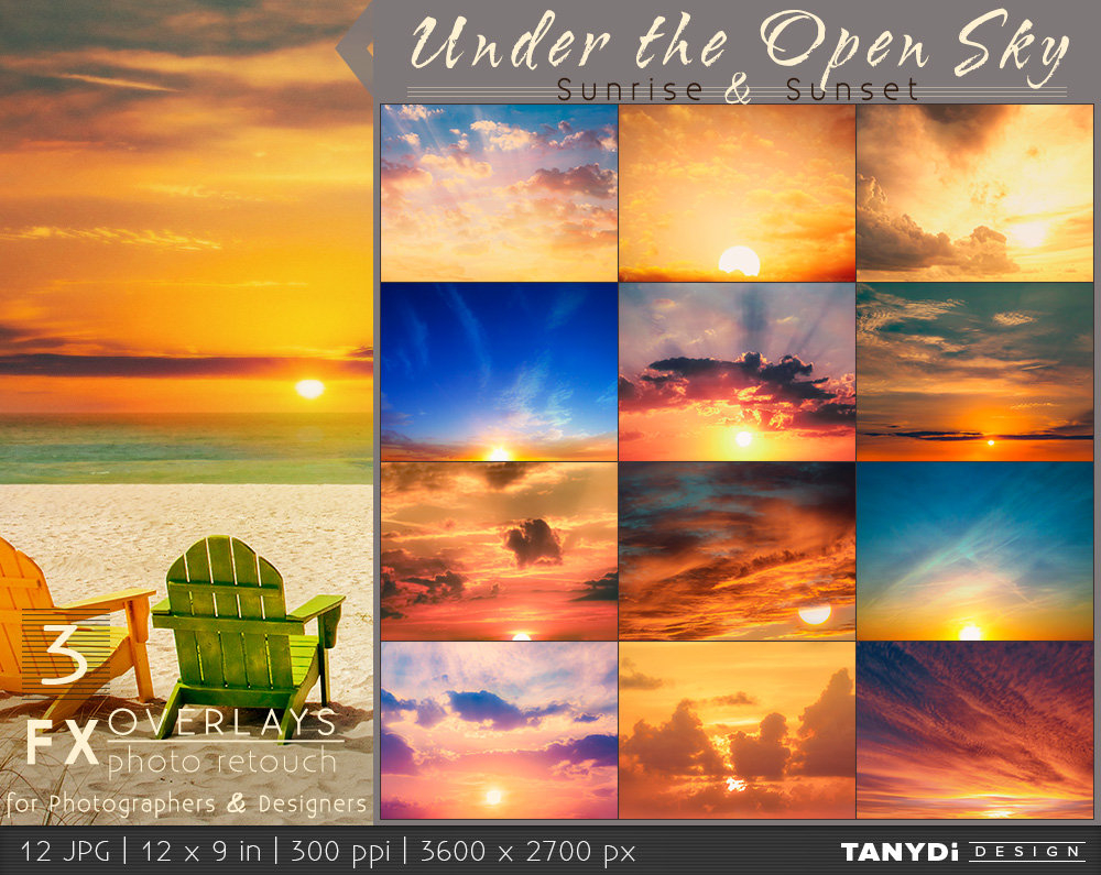 Sunrise Sunset, Soft Clouds And Sun Rays - 12 Jpg Photo Overlays, Under The  Open Sky Fx 5, Photo Retouch Tools - Photography Overlays Pertaining To Printable Sunrise Sunset Times By Zip Code