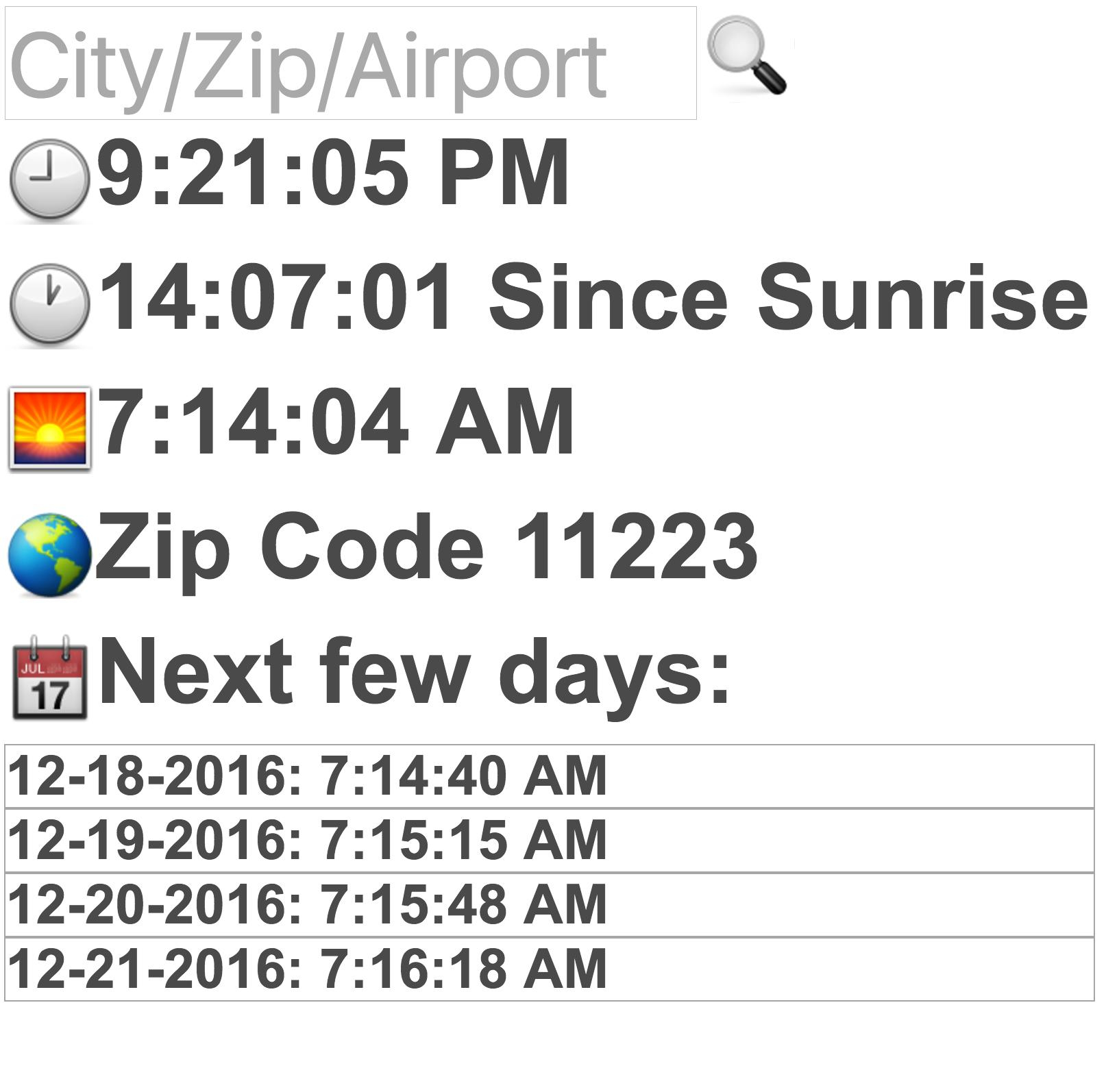 Sunrise Time For Android – Apk Download With Regard To Sunrise Times By Zip Code