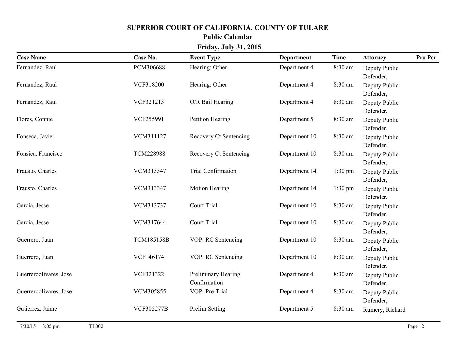 Superior Court Calendar - Visalia Regarding Monterey County Court Calendar