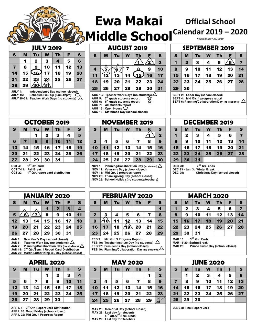 Sy 2019 2020 School Calendar — Ewa Makai Middle School With Doe State Of Hawaii School Calendar