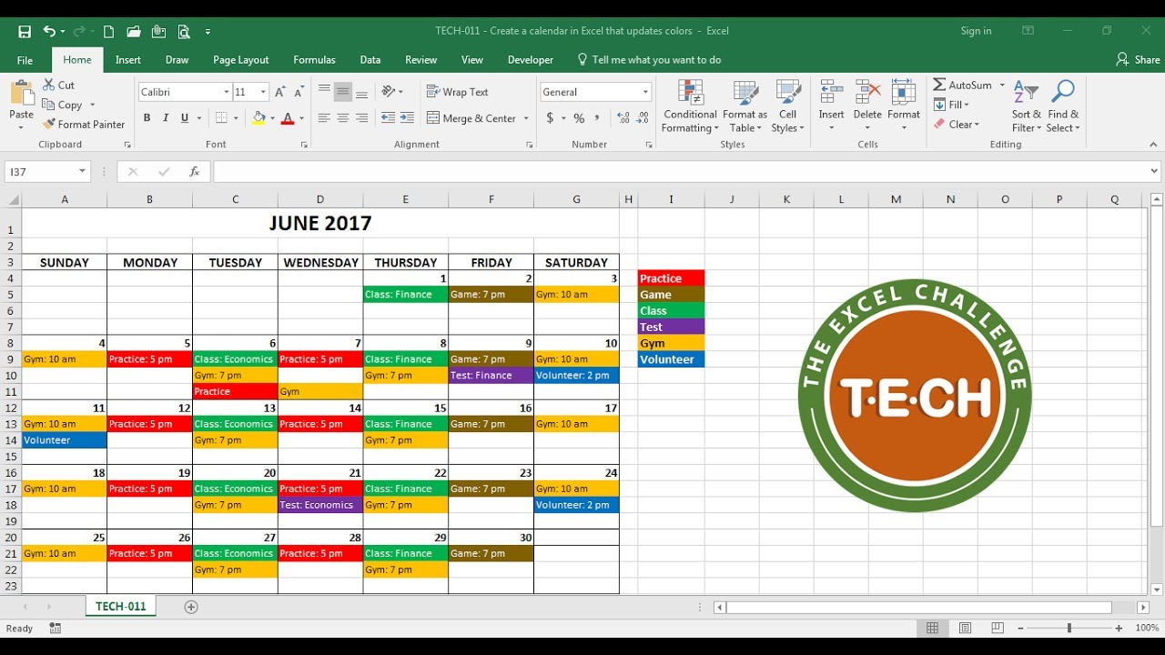 Tech-011 - Create A Calendar In Excel That Automatically Updates Colors Event Category throughout Convert Excel To Calendar View