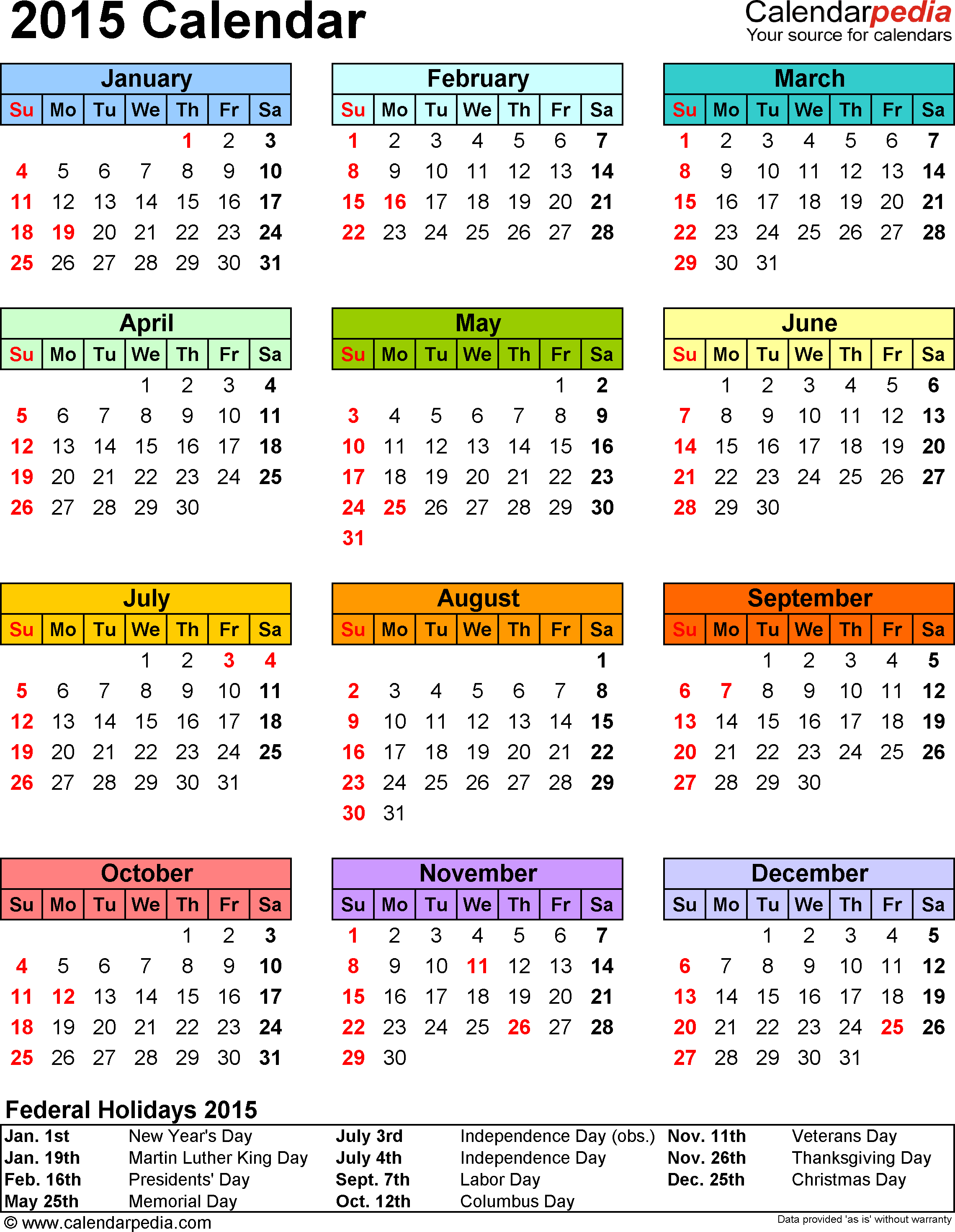 Template 13: 2015 Calendar For Word, 1 Page, Portrait In 2015 Pay Period Calendar Federal