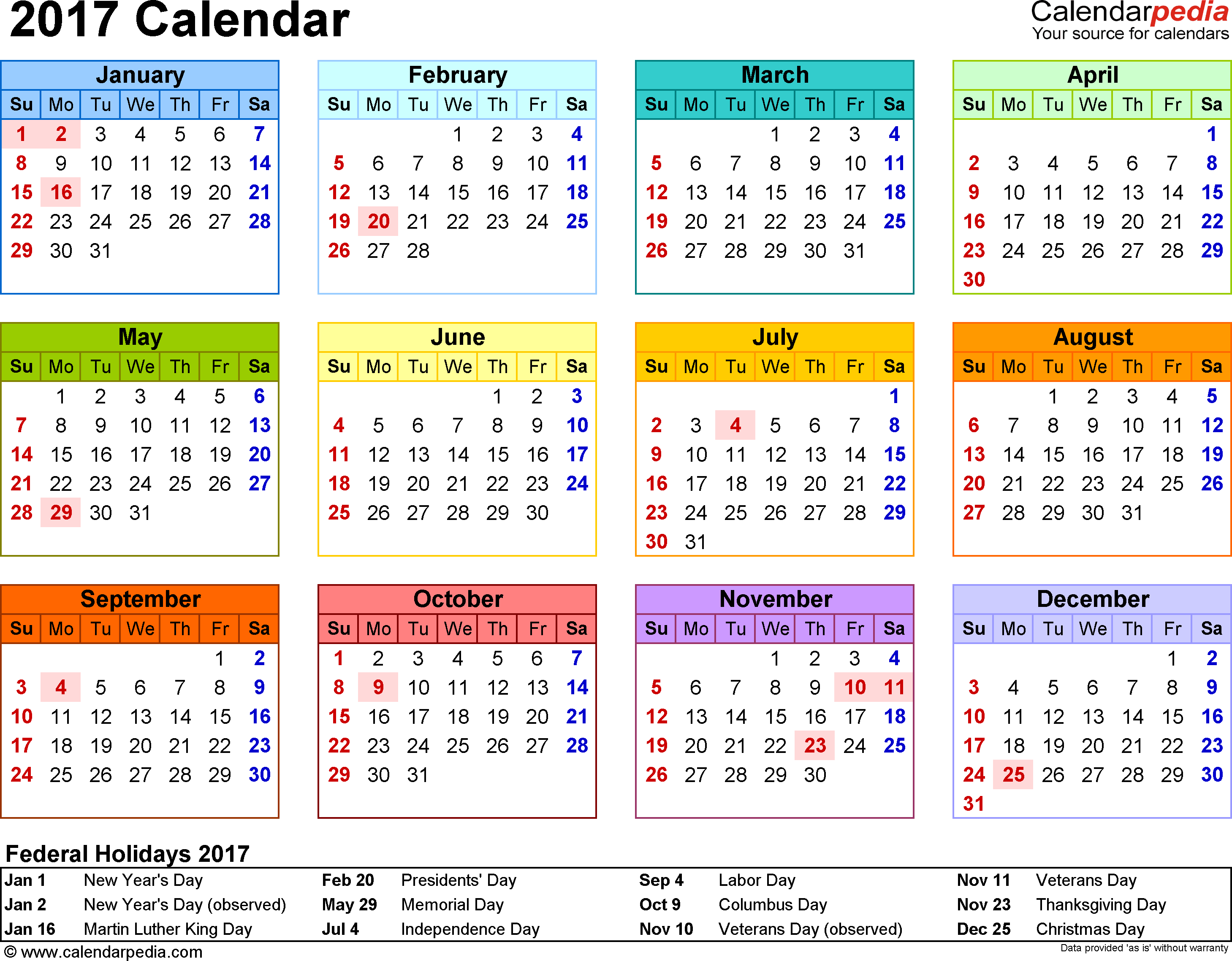 Template 8: 2017 Calendar For Word, Year At A Glance, 1 Page With Downey 2020 2021 Calendar Of Events Printable