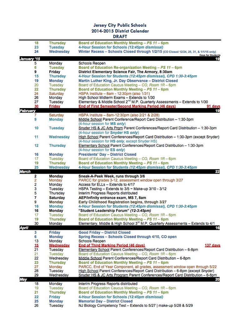 The 2014 2015 Jersey City School Calendar (In Not Pdf Form Inside Jersey City Board Of Education Member Calendar