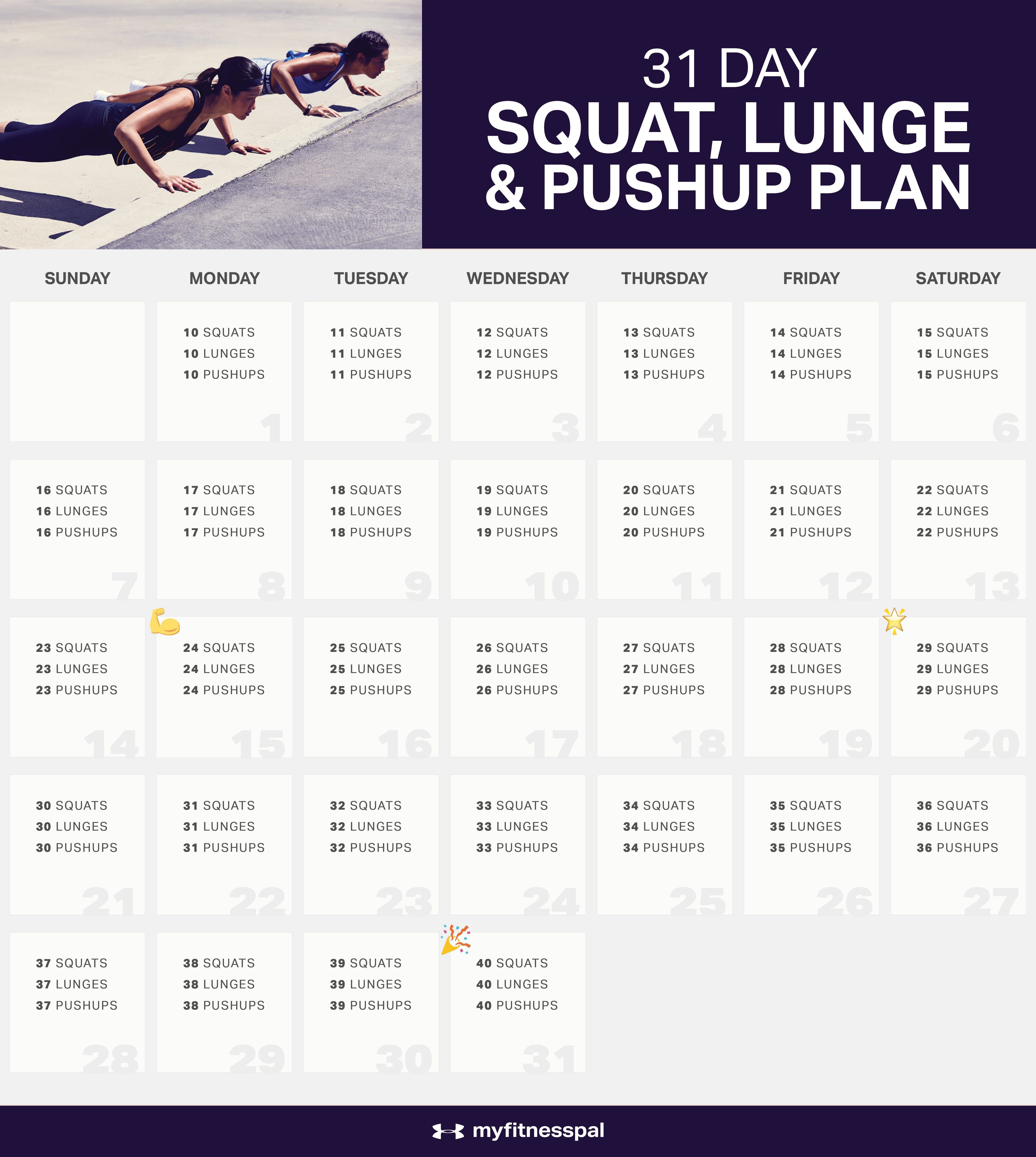 The 31 Day Squat Challenge, Lunge & Pushup Plan (With Images Intended For 30 Day Squat Challenge Schedule Calendar