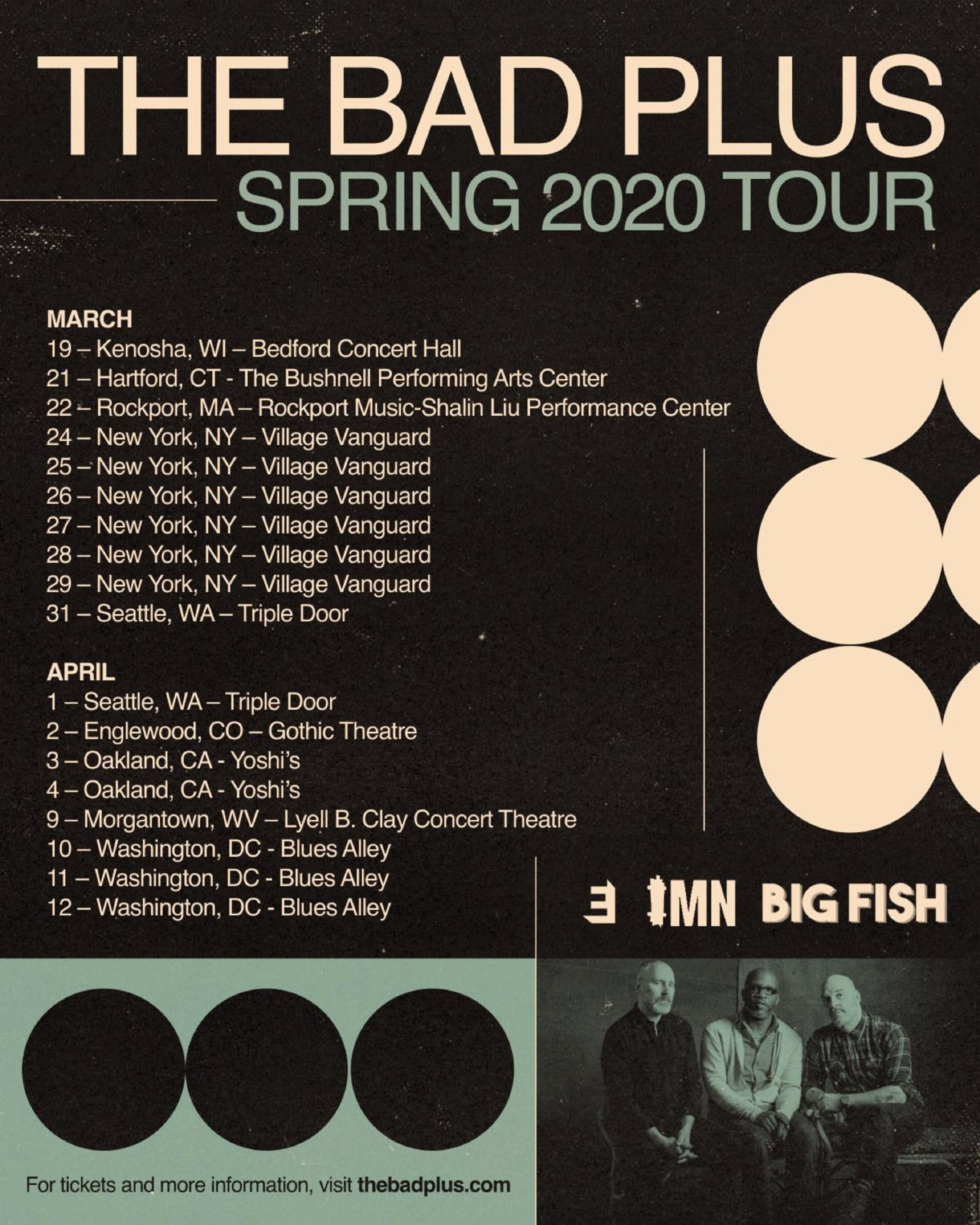 The Bad Plus Confirm 2020 Spring Tour | Grateful Web inside Blues Alley Schedule 2021