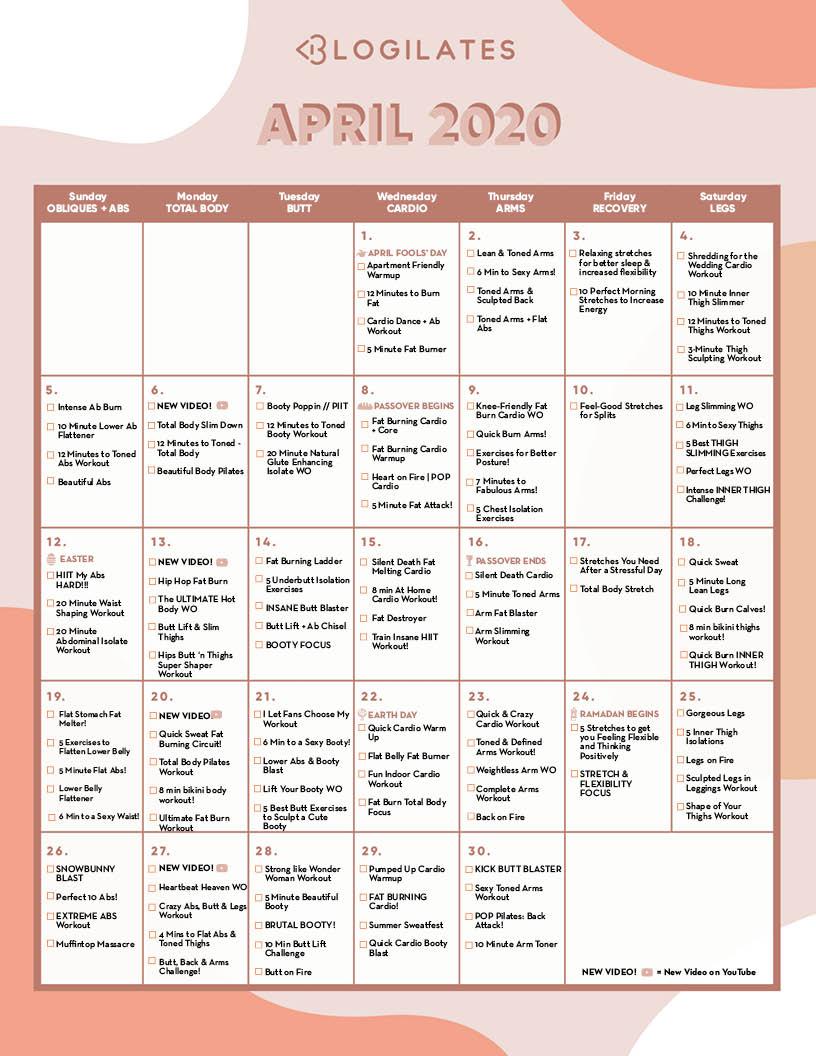 The Blogilates April 2020 Workout Calendar! – Blogilates Intended For Slim And 6 Workout Plan Calender Edit