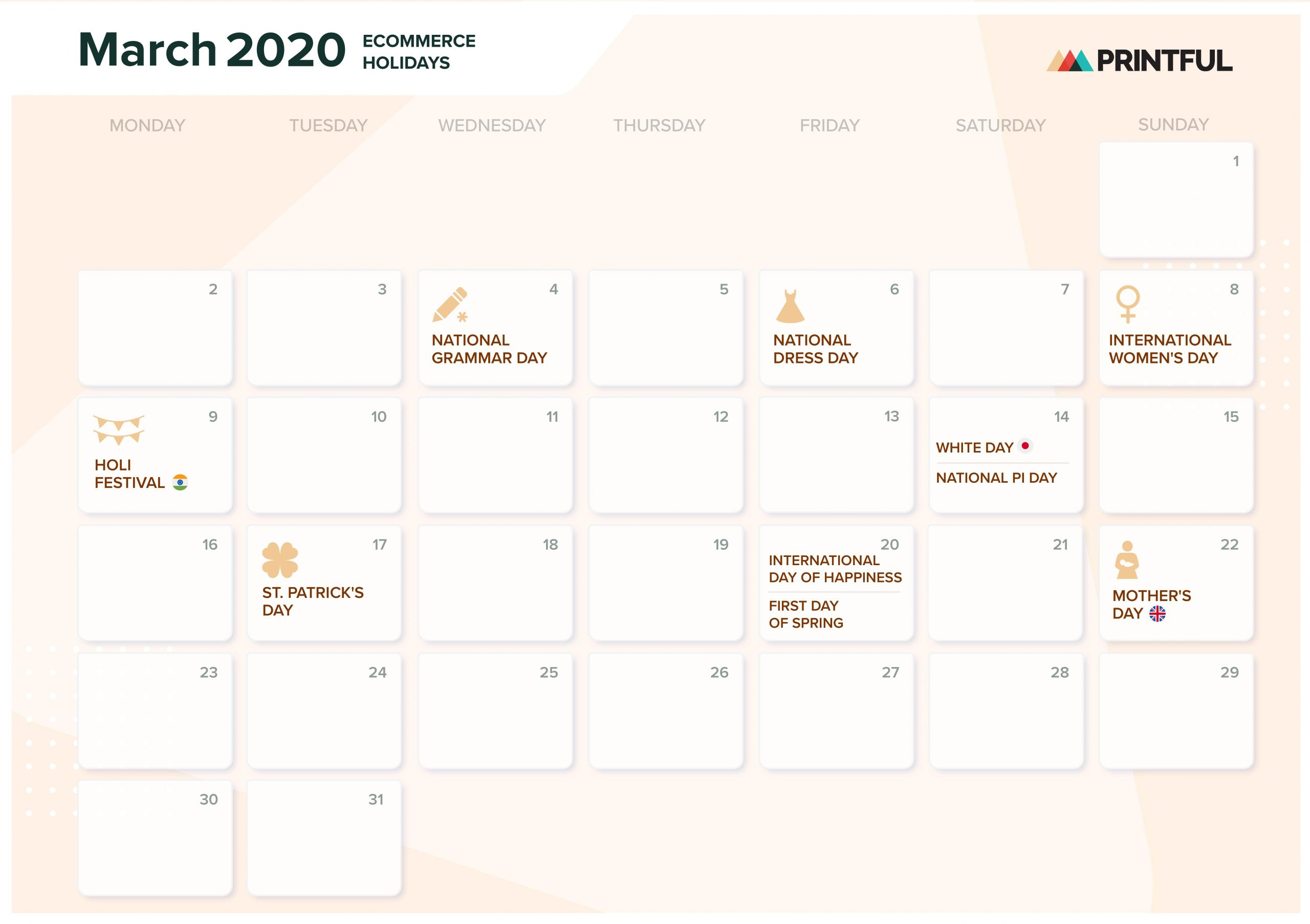 The Ultimate 2020 Ecommerce Holiday Marketing Calendar Throughout Mexican Calendar For Names
