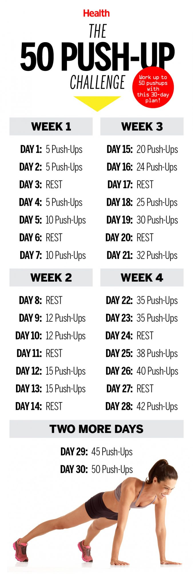This 50 Push Up Challenge Will Transform Your Body In 30 Within 30 Day Push Up Challenge Printable Pdf