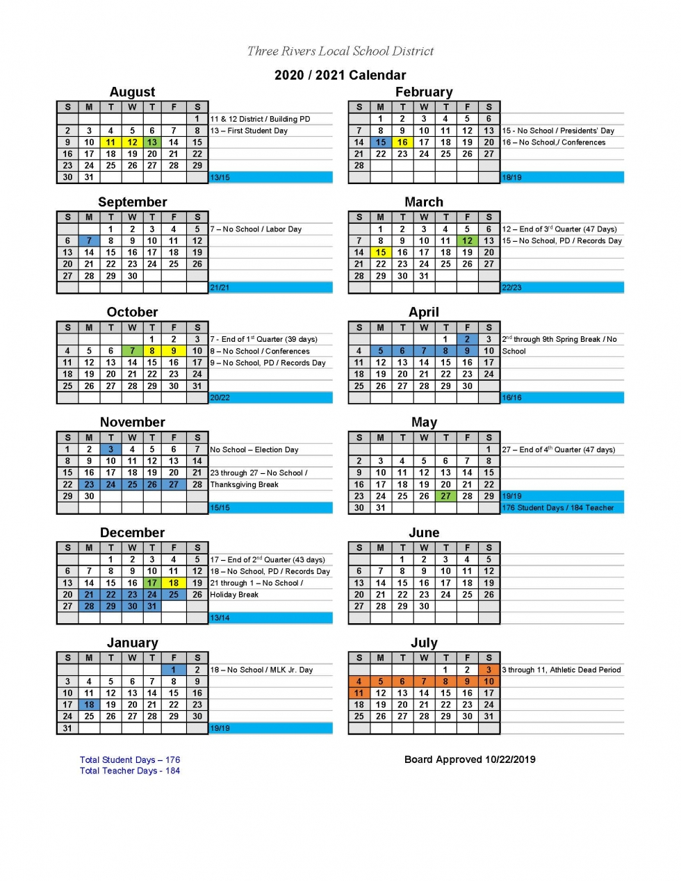 Three Rivers Local School District – Calendars With Harrison School District 2 Calendar 2021