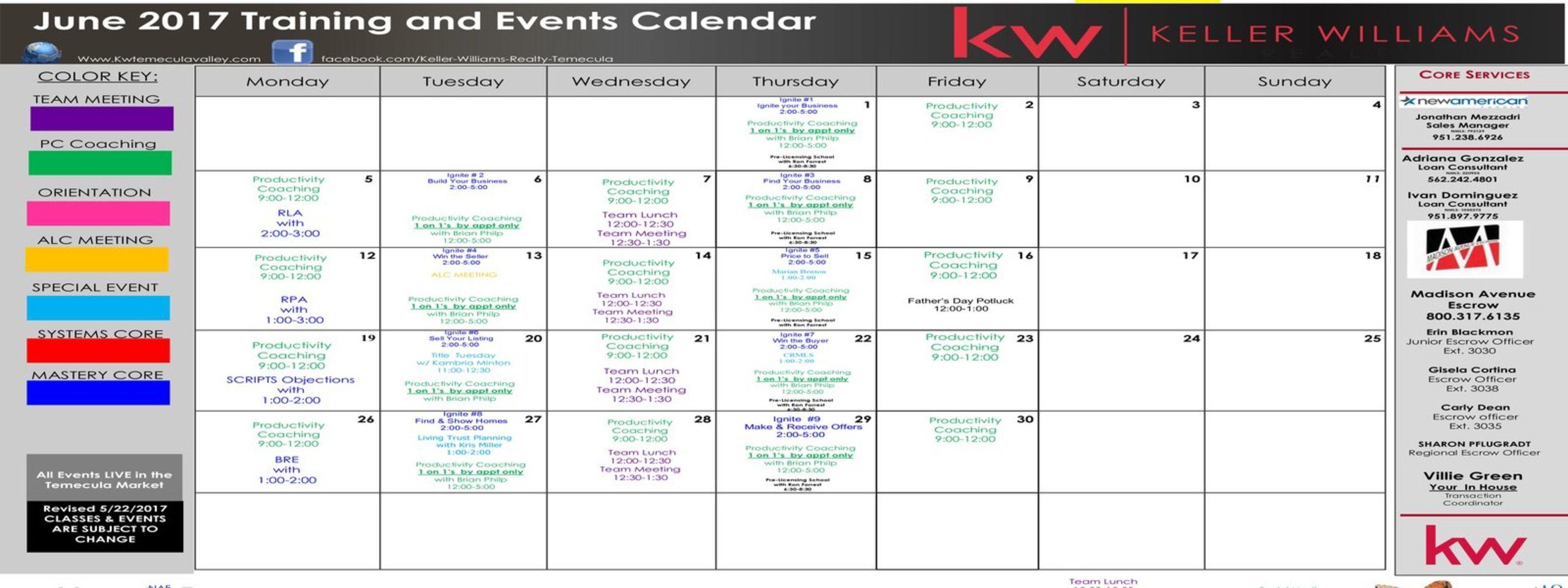 Training Calendar - Keller Williams Temecula Valley Inside Temecula School District Calendar