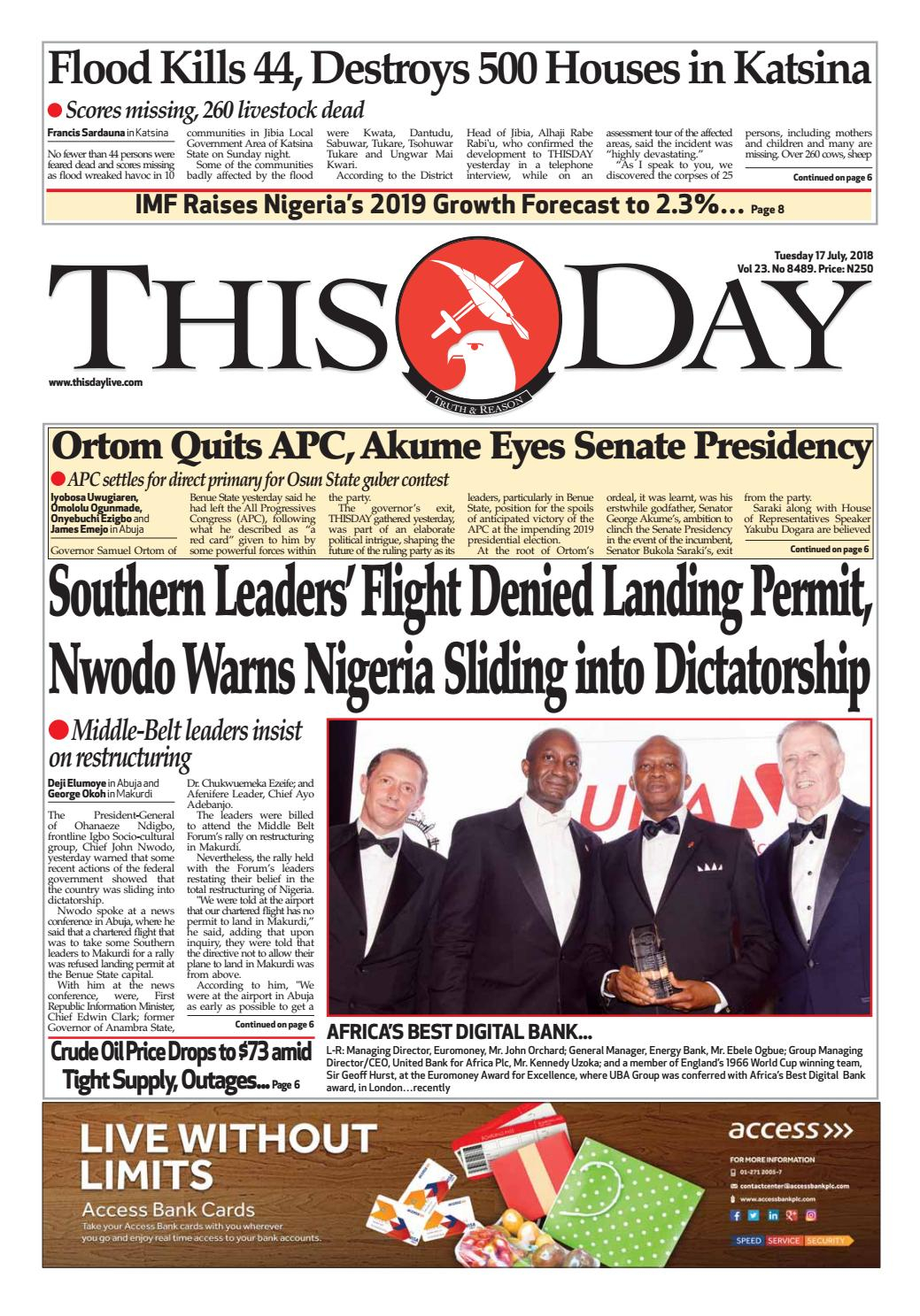 Tuesday 17Th July 2018Thisday Newspapers Ltd – Issuu For Billings School District 2 2021 20 Calendar