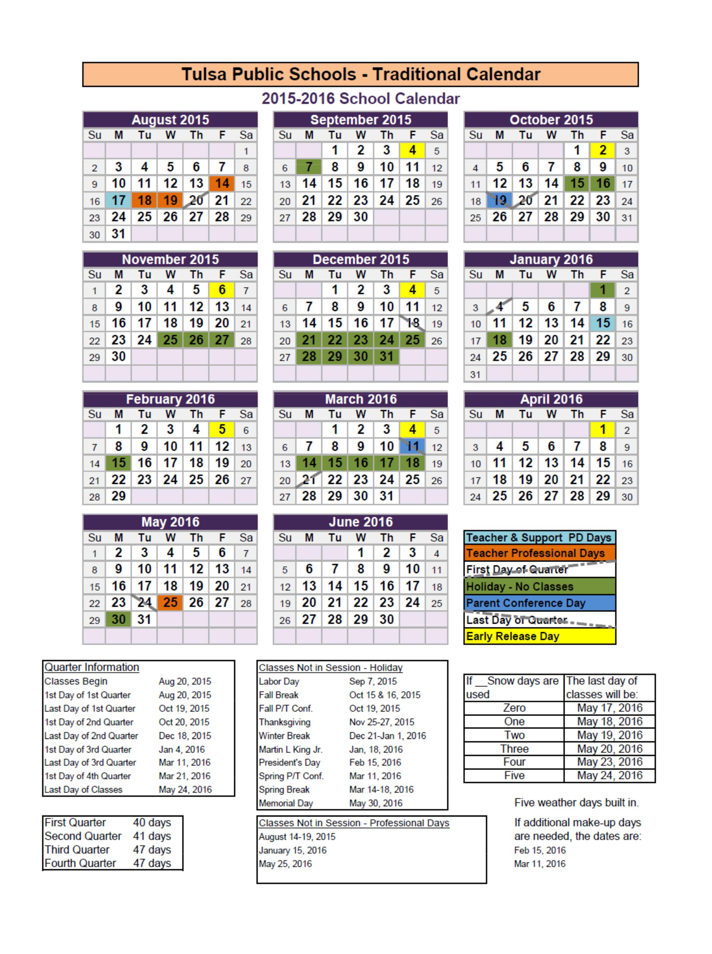 Tulsa Public Schools Finalize Calendar Years Through 2017 With Regard To 2015 Doe School Calendar