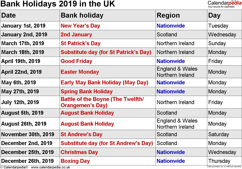 Uk Holidays 2019 | Holiday Calendar, Federal Holiday Within Uri Academic Calendar Holiday