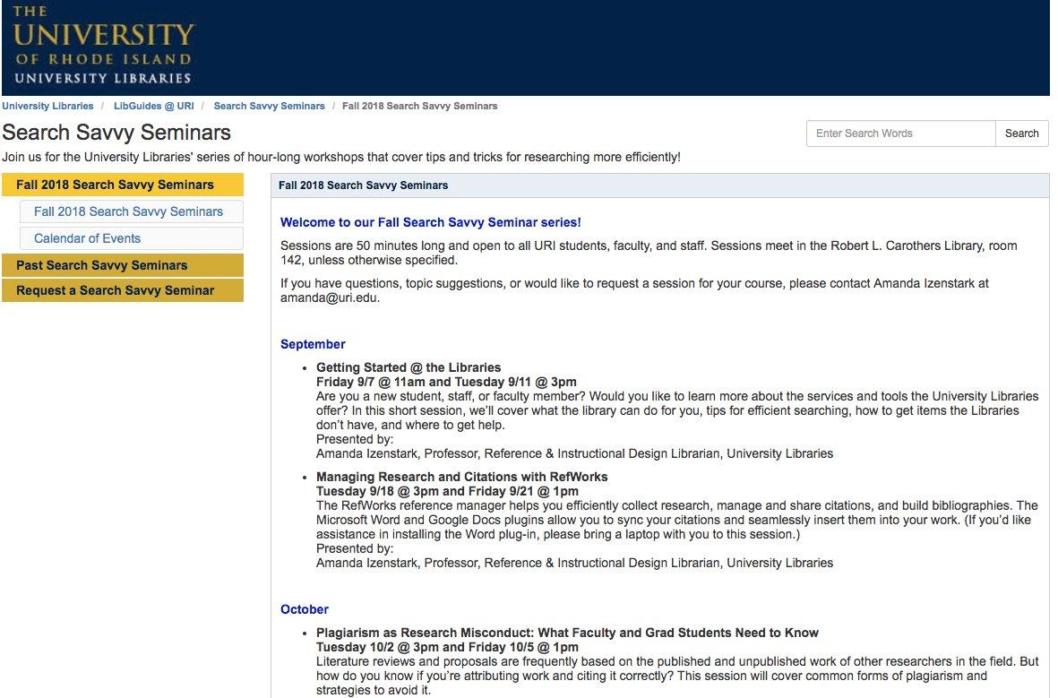 "Uri Libraries On Twitter: ""work Smarter Not Harder! Join Us For Uri Calendar Academic"