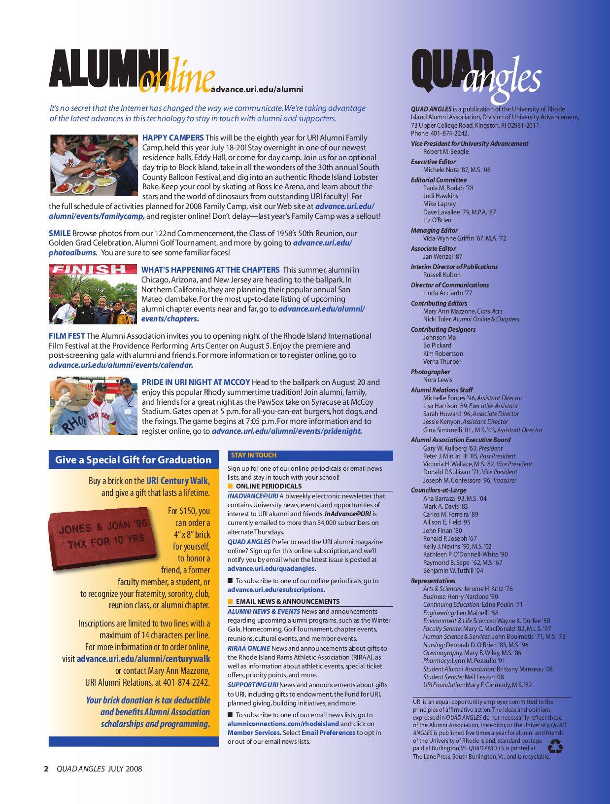 Uri Quadangles July 2008University Of Rhode Island – Issuu Intended For Uri Calendar Academic