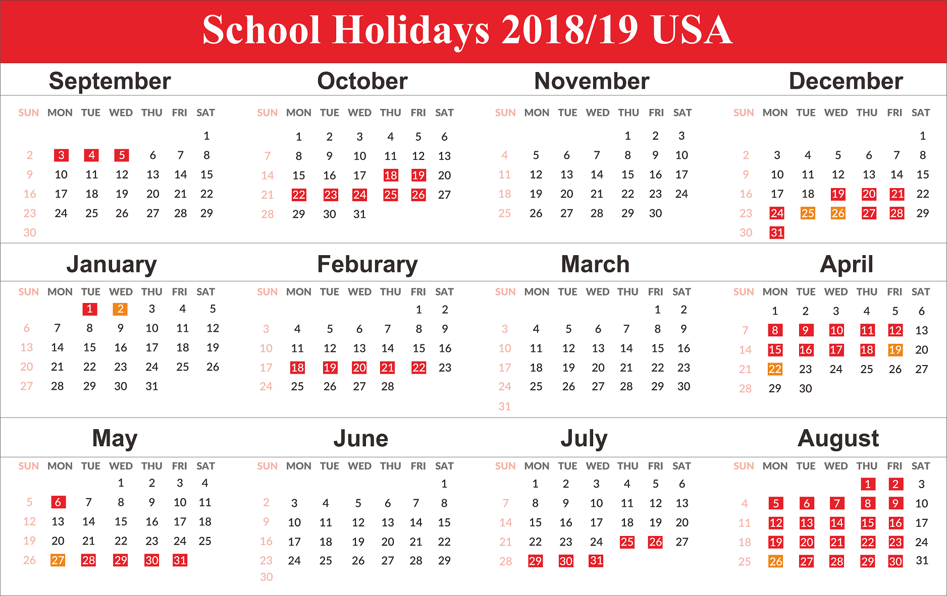 Us Holidays 2020 | School Calendar, School Holiday Calendar for Uri Academic Calendar 2021