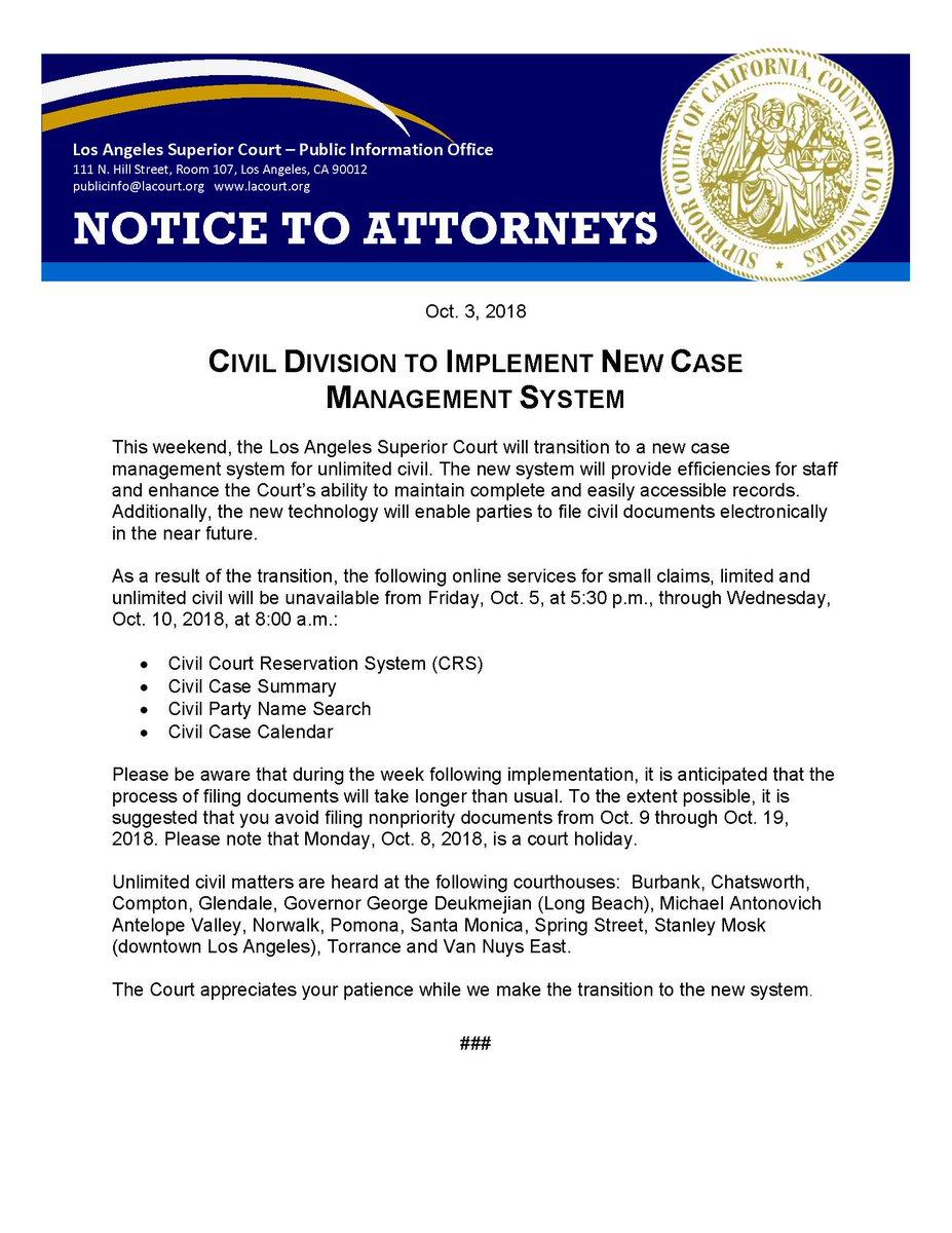 "Uživatel La Superior Court Na Twitteru: ""#attorneys – Lasc's For Los Angeles Superior Court Calendar"