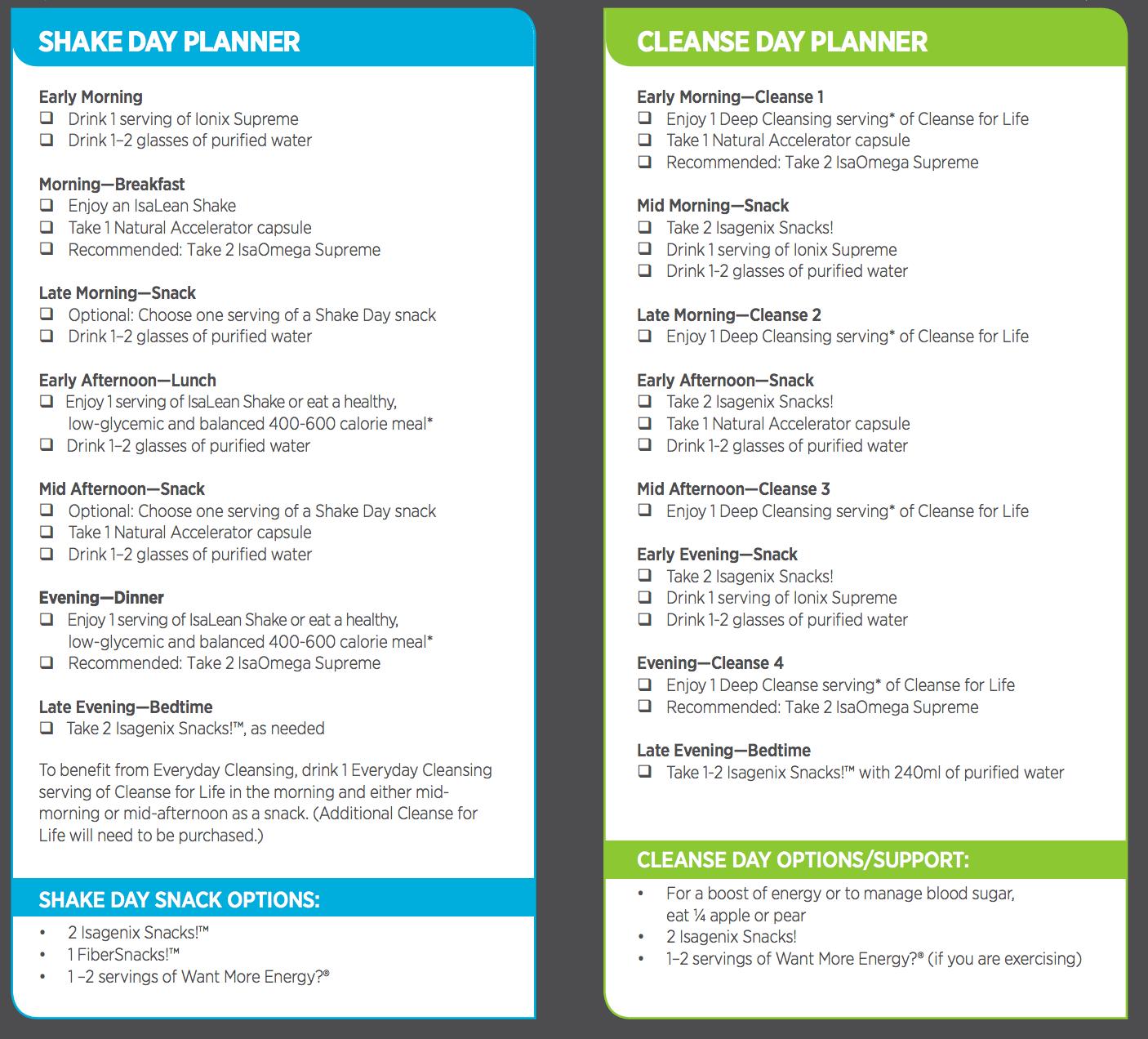 Vimpat Schedule Drug: Isagenix Shake And Cleanse Pak Schedule Inside Isagenix Shake Day Schedule Printable