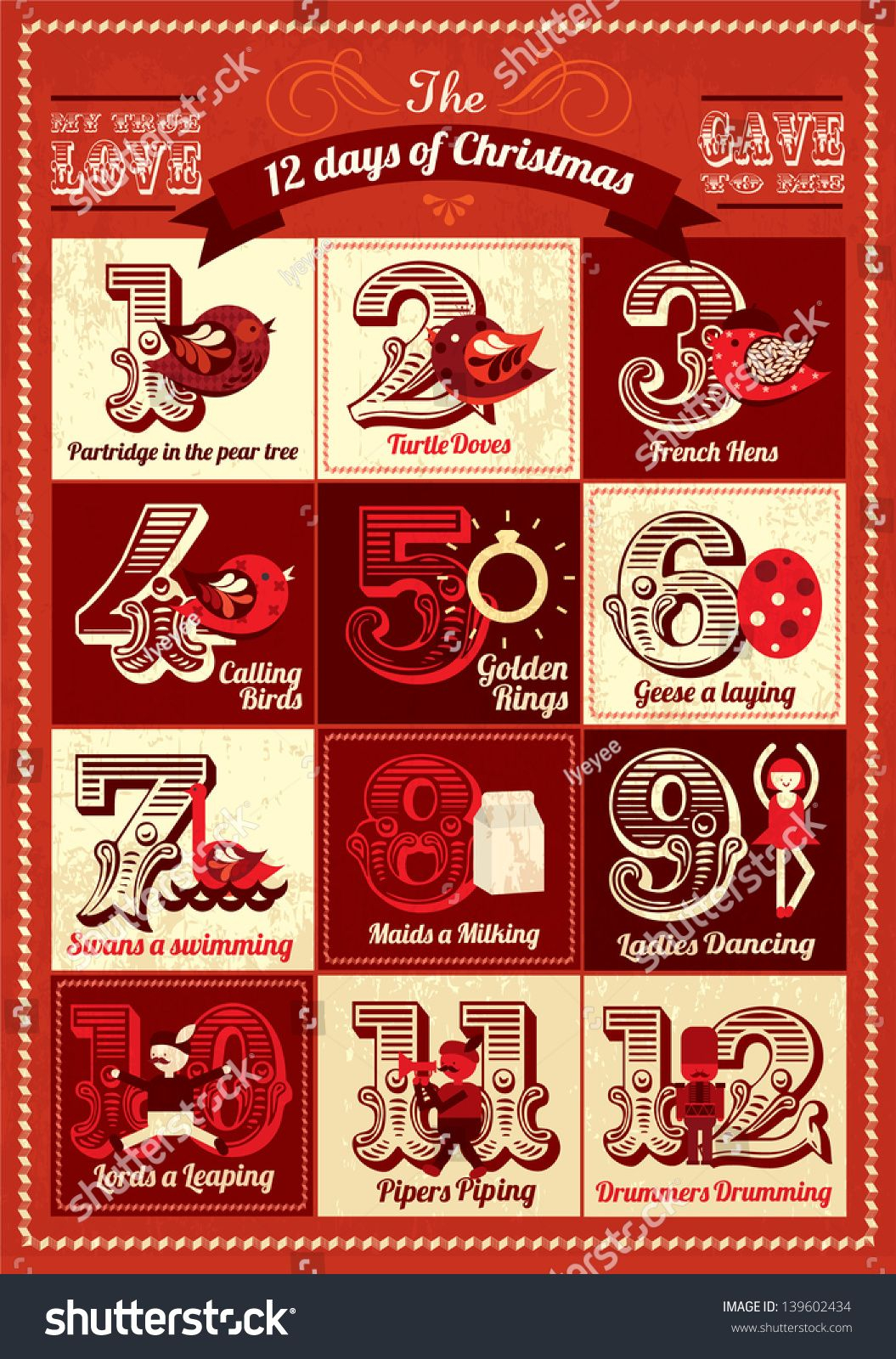 Vintage Twelve Days Of Christmas Calendar Template Vector Inside 12 Days Of Christmas Calendar