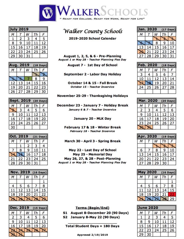 Walker County School System | Calendar intended for Fayette County Georgia School Calendar 2021