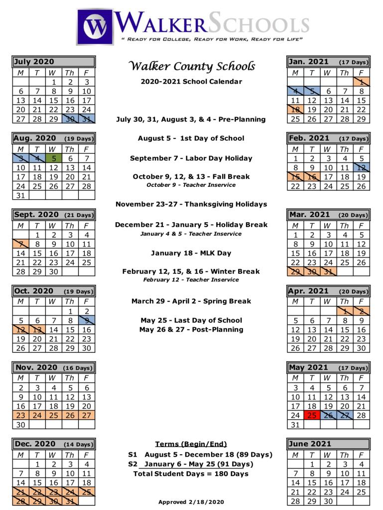 Walker County Schools Calendar 2020 And 2021 - Publicholidays Within Georgia State School Calendar 2020