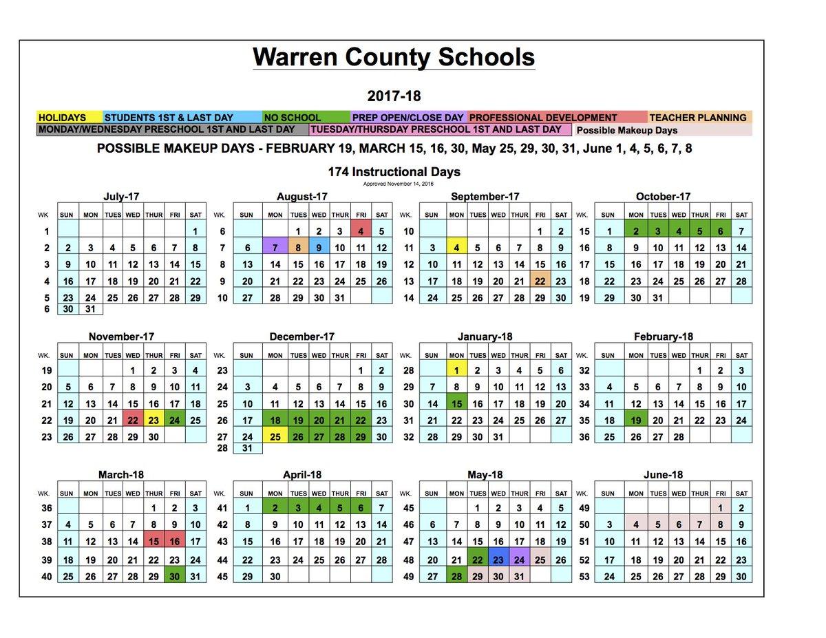 """Warren Co Schools On Twitter: """"board Approves 2017 18 School With Regard To Warren Co Ky School Spring Break"""