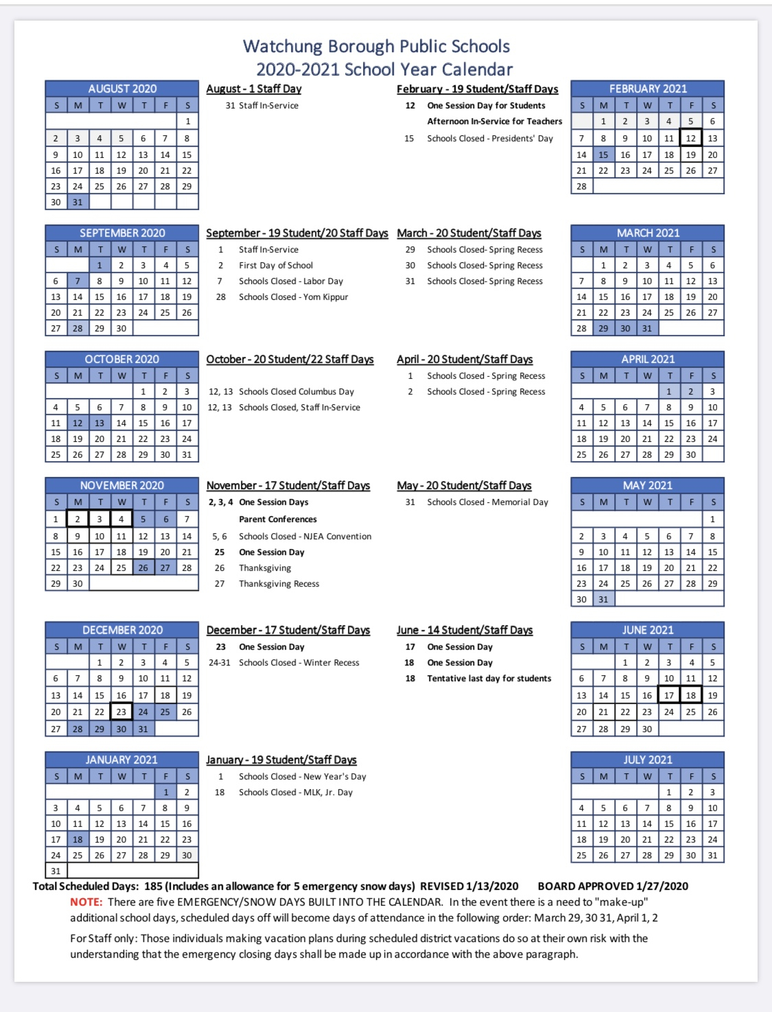 Watchung Board Of Education Approves 2020 21 Calendar   Tapinto Pertaining To Stroudsburg Public School Calendar