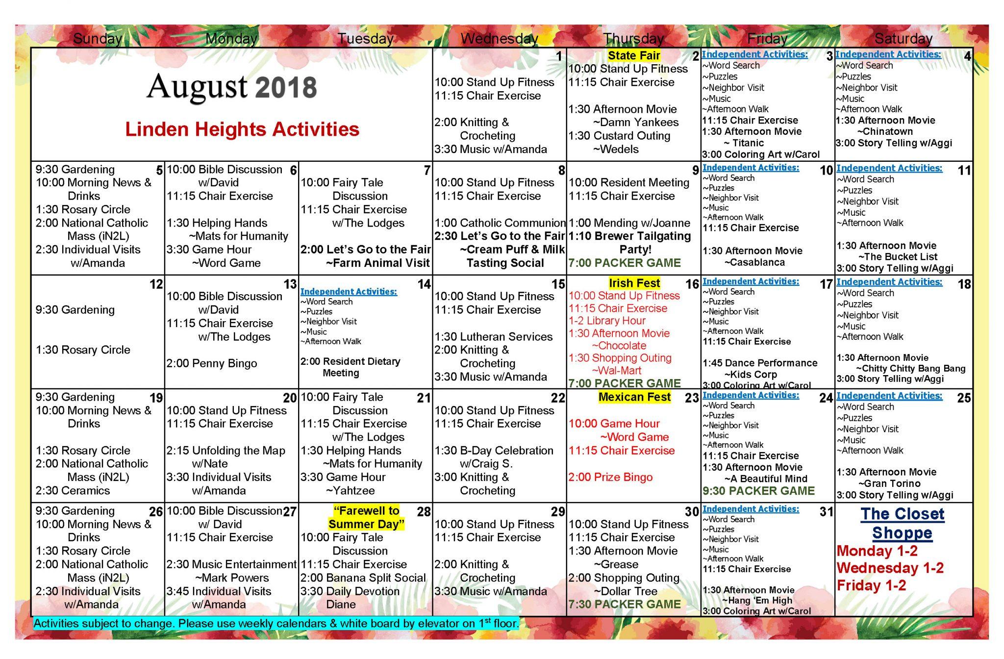 Waukesha Assisted Living Activities Calendar August 2018 With Assisted Living Activities Schedule