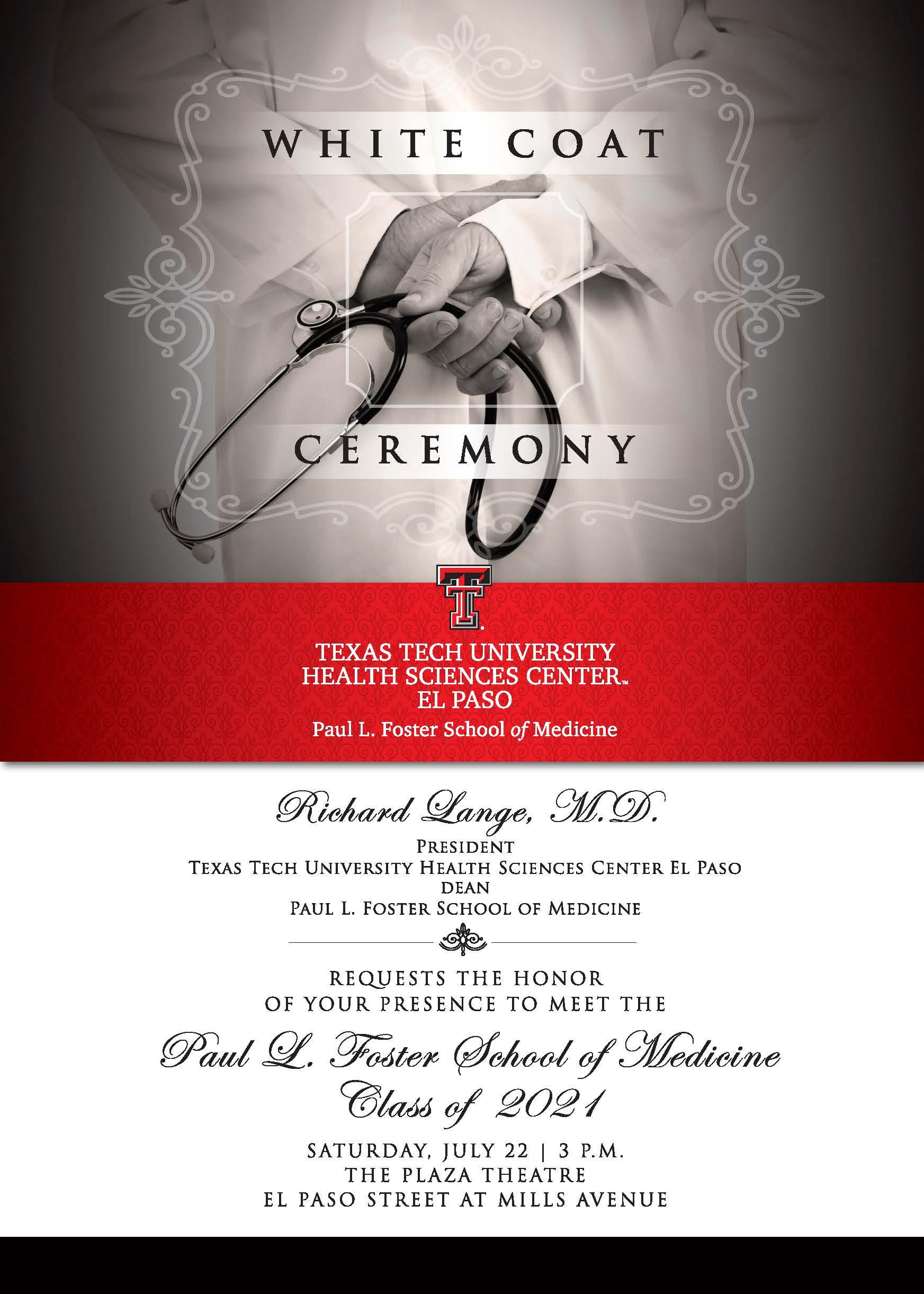White Coat Ceremony - July 22 intended for Texas Tech Calendar For 2021 -2020