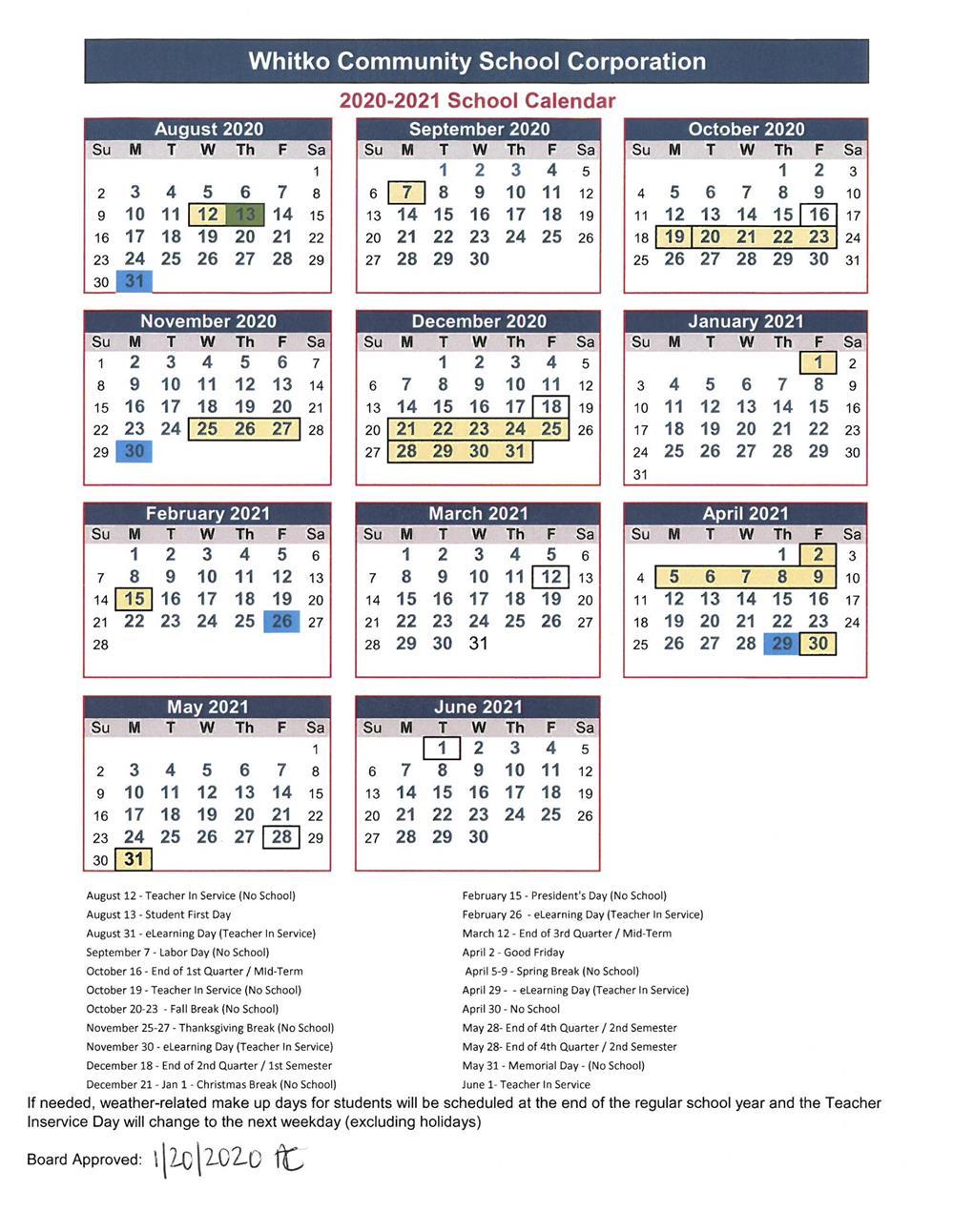 Whitko Community School Corp / Calendar Throughout Fort Wayne Events Calendar 2021