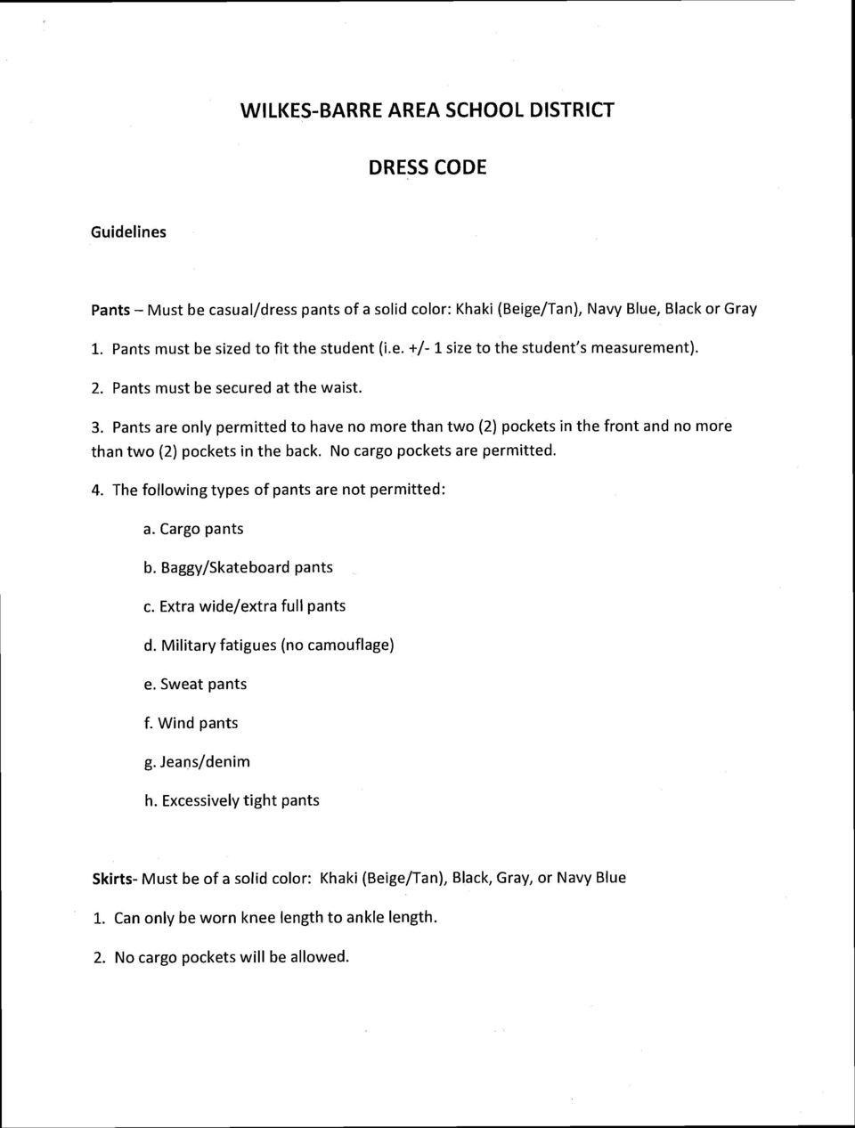 Wilkes Barre Area School District Dress Code – Pdf Free Download Pertaining To Wilkes Barre Area School District Calendar