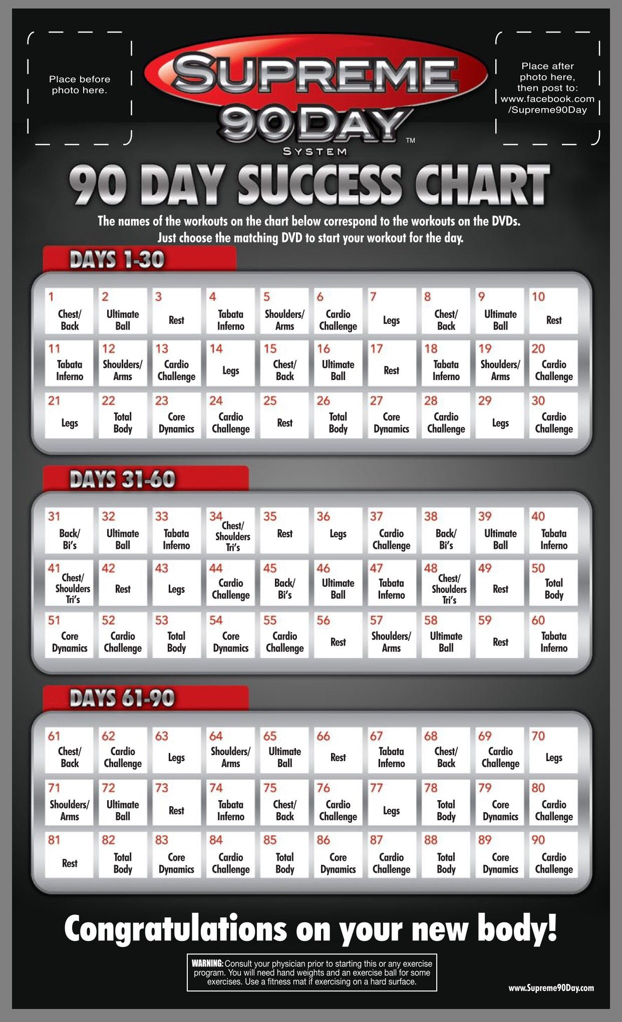 """Workout Schedule. **supreme 90Day System, """"get Ripped In in 90 Day Supreme Workout Schedule"""