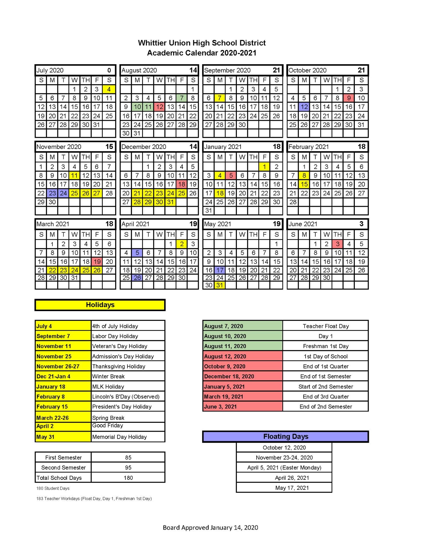 Wuhsd Academic Calendars – District Information – Whittier pertaining to West Orange School District Printale Academic Schoool Schedule