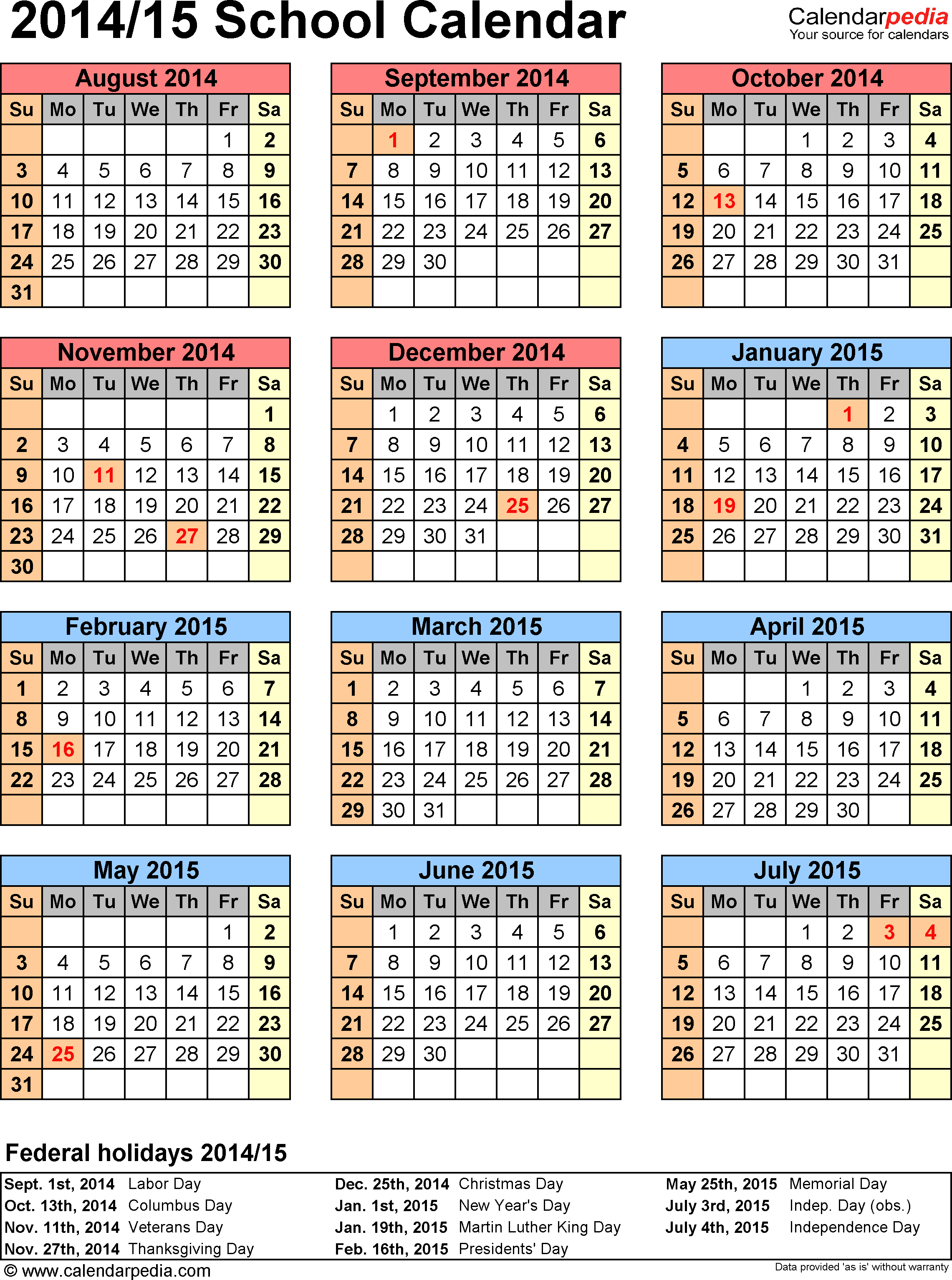 2014 Yearly Calendar Template Uk   Holidays And Key Dates Pertaining To Doe School Calnder 2015 2020