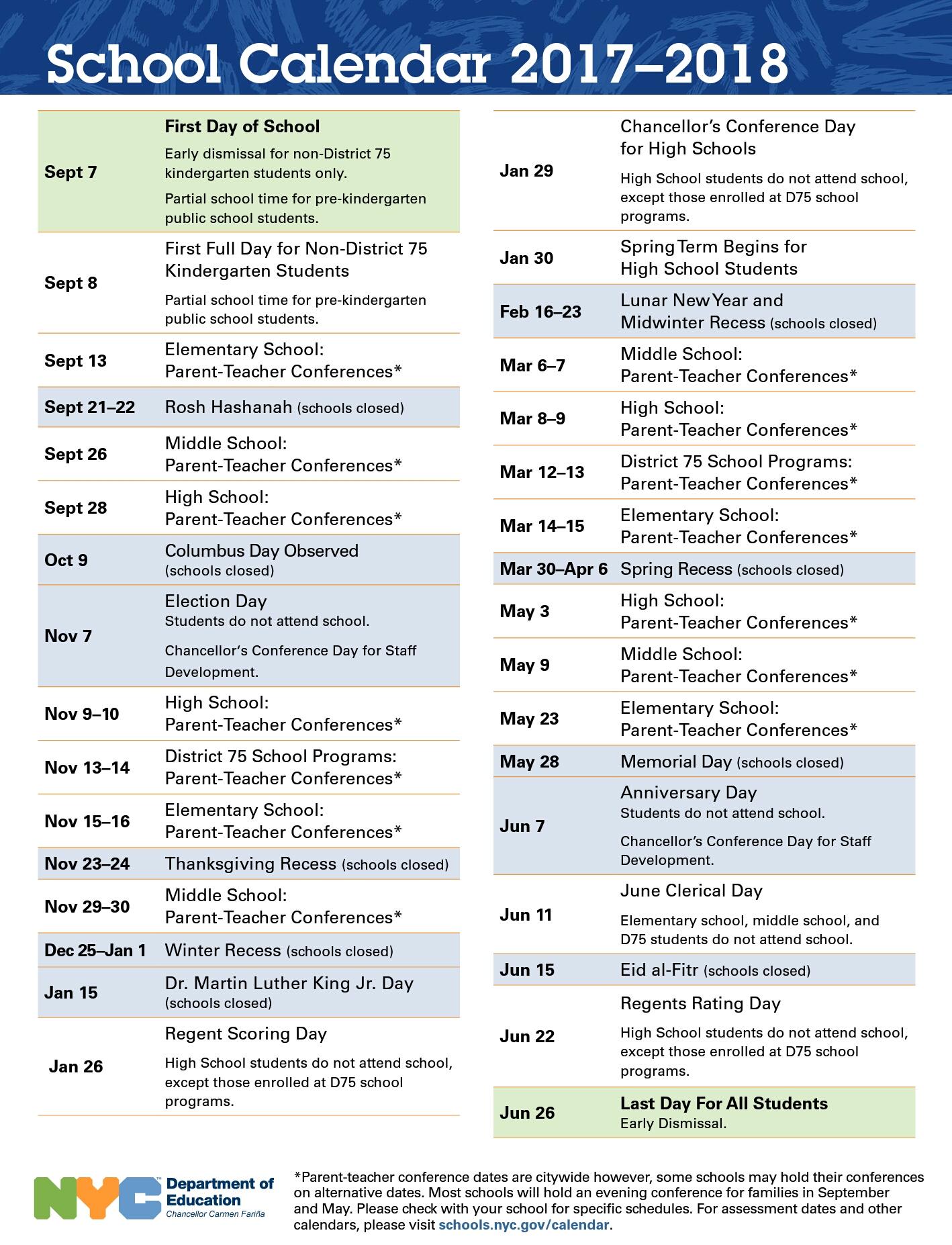 2017  2018 Nyc Public Schools' Calendar - Uft Solidarity With Nyc Dept Of Ed Calendar