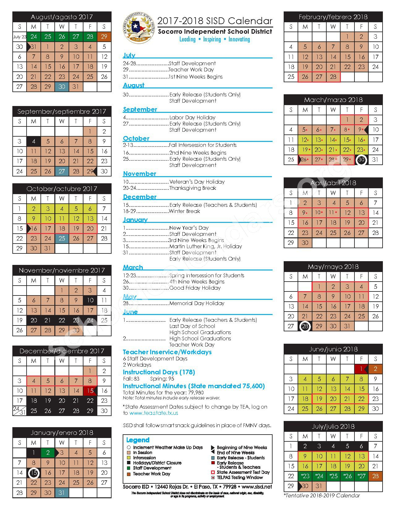 2017 - 2018 Student Calendar | Ysleta Independent School Intended For Las Cruces Isd Calendar