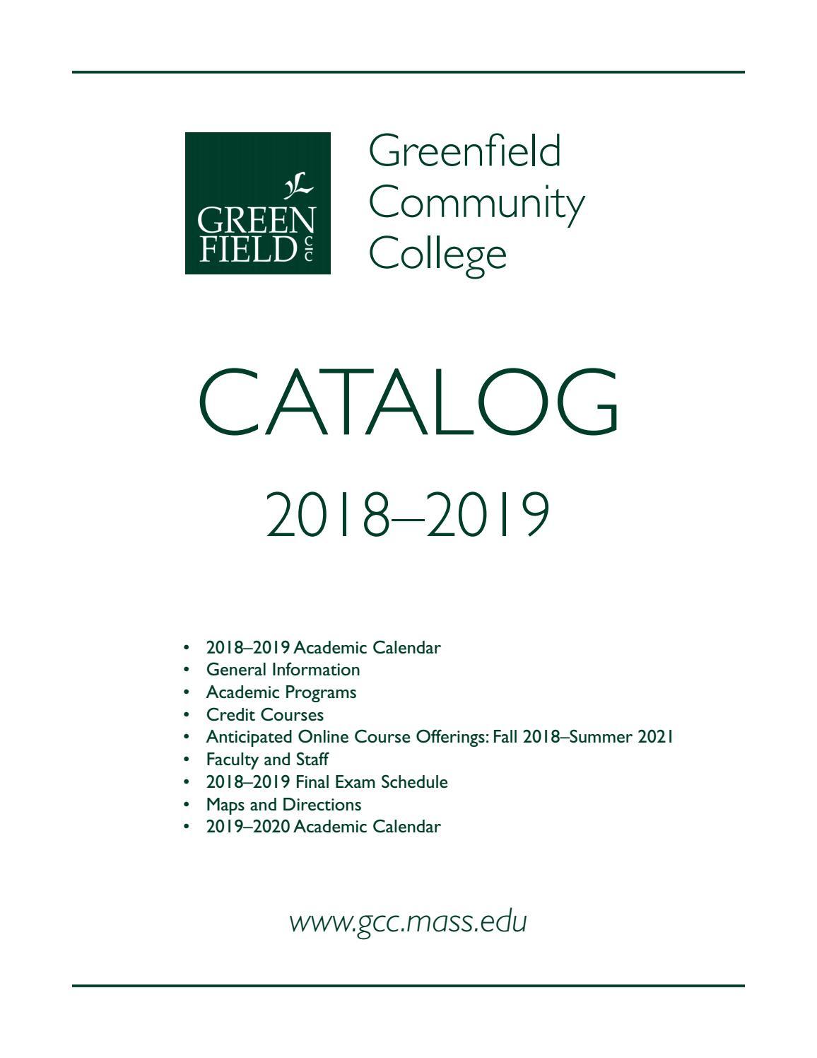 2018 19 Gcc Cataloggreenfield Community College – Issuu Inside University Of Southern Maine Academic Calendar 2021