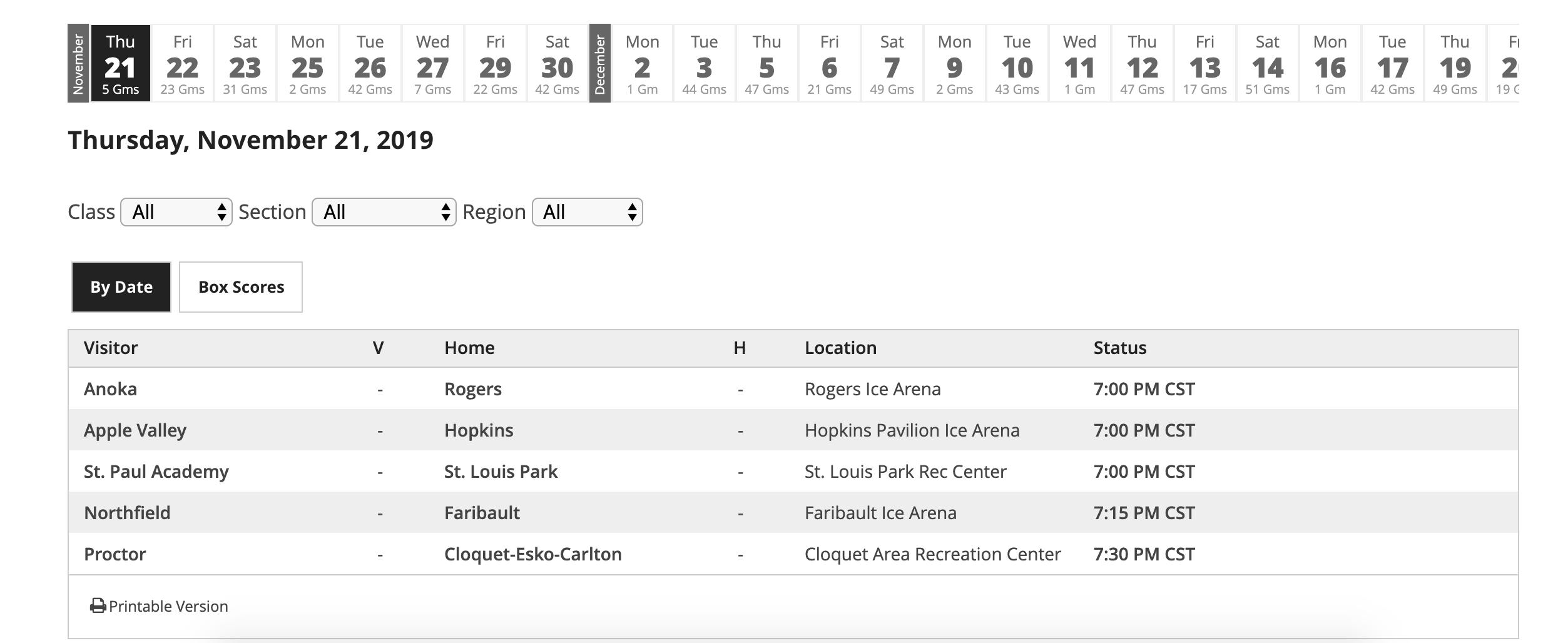 2019 20 Minnesota High School Boys' Hockey Schedules Released Inside Grand Rapids High School Calendar